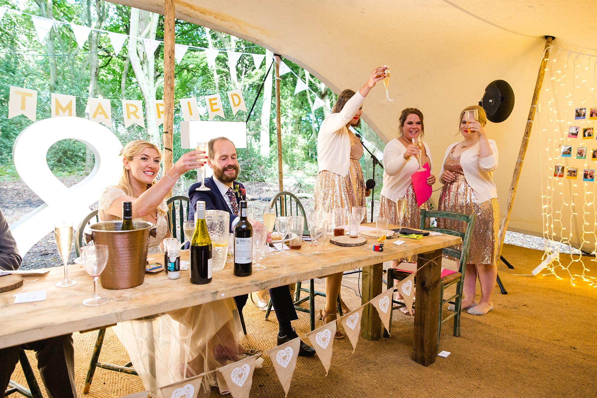 Woodland Weddings Tring bridesmaids toast