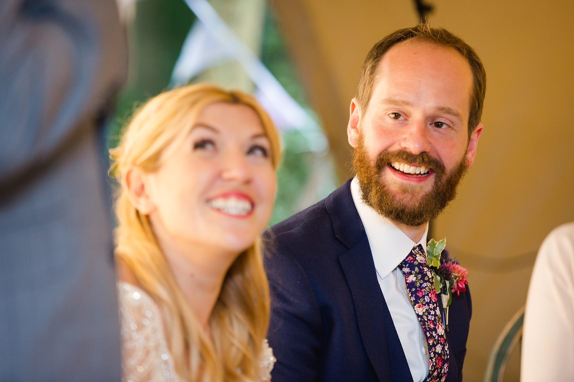 Woodland Weddings Tring groom laughing at speech