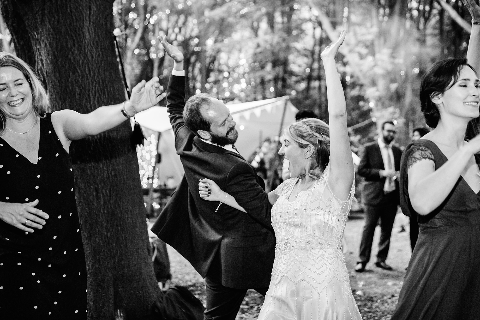 Woodland Weddings Tring bride and groom swing dancing