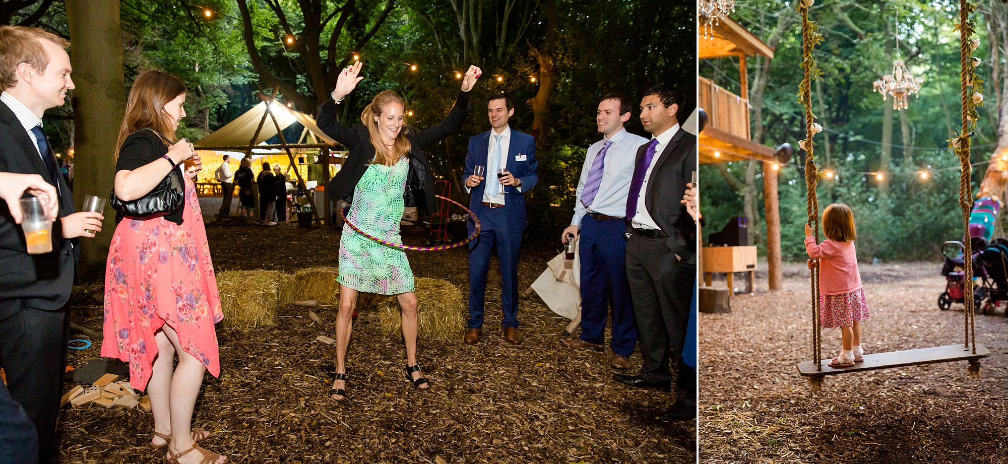 Woodland Weddings Tring guests hula hooping
