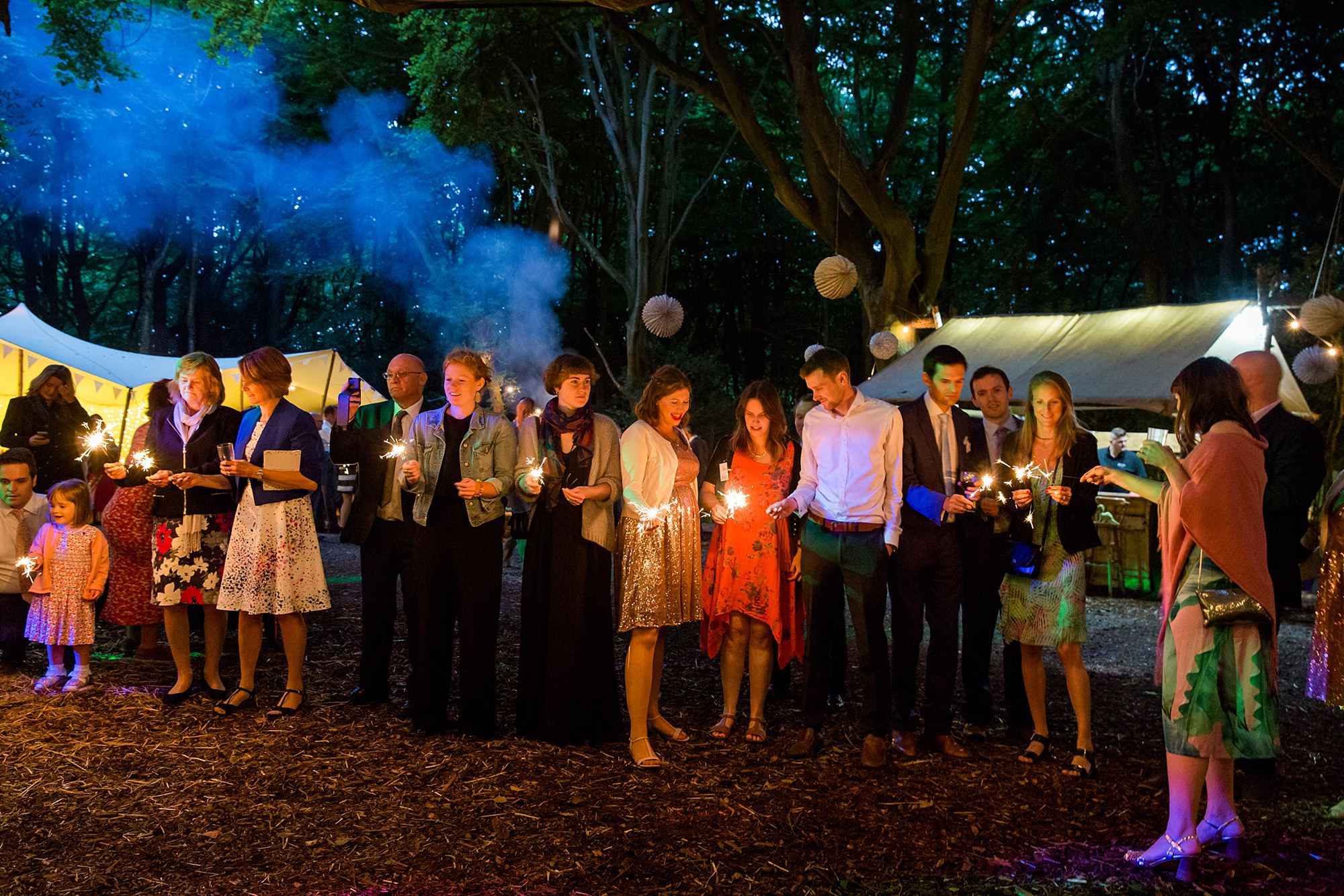 Woodland Weddings Tring guests with sparklers