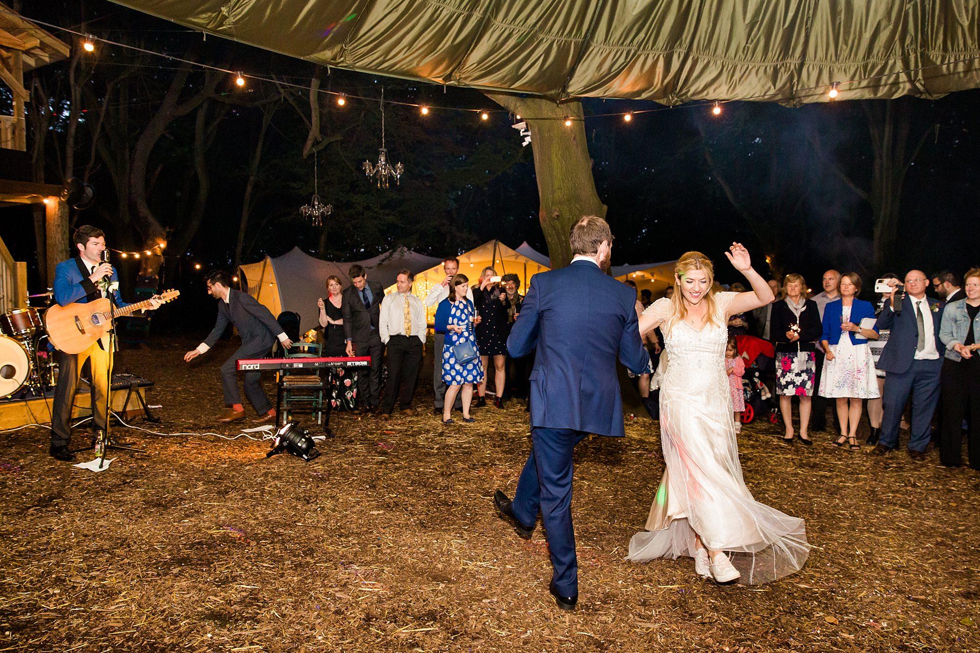 Woodland Weddings Tring bride and groom first dance swing dance