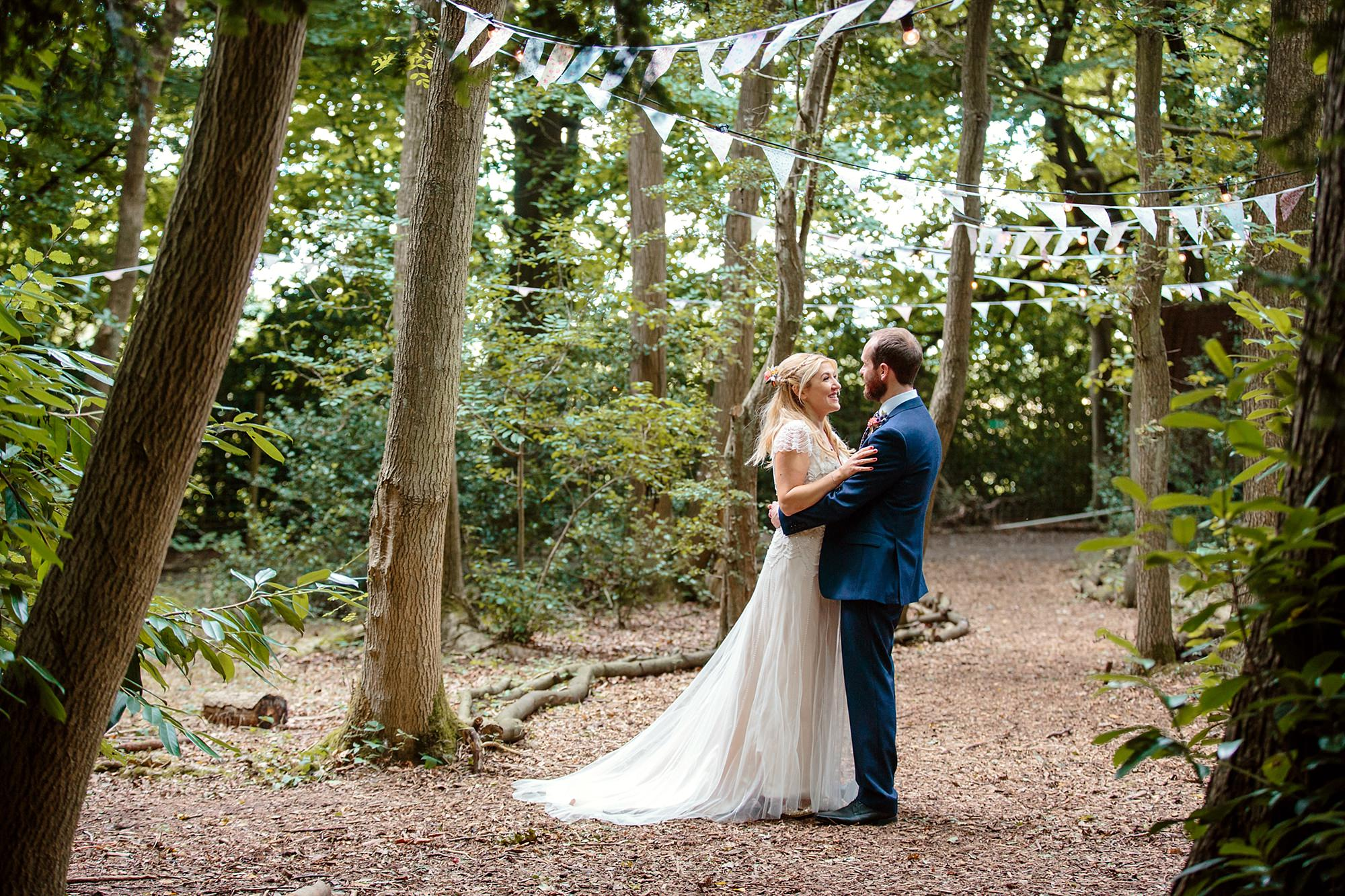 Woodland Weddings Tring bride and groom in woods