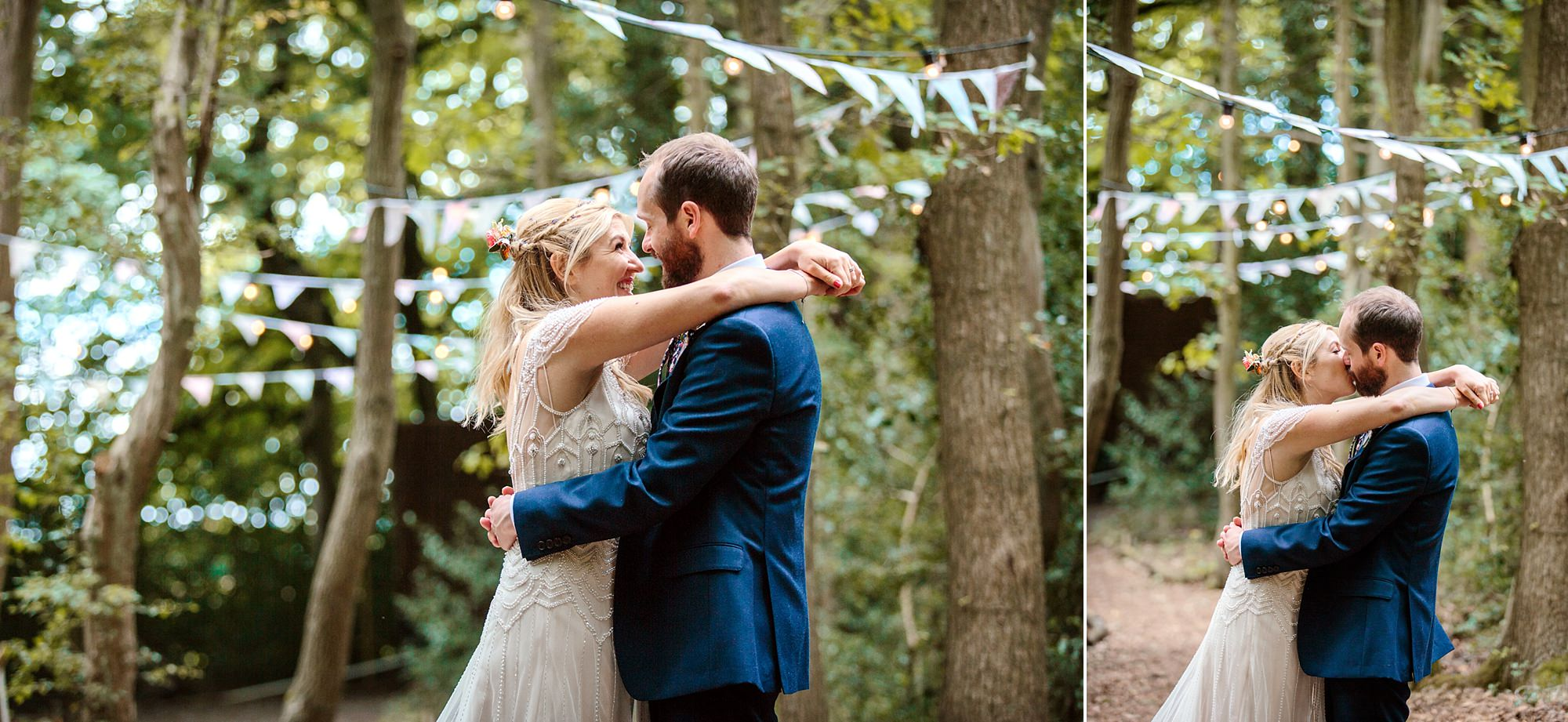 Woodland Weddings Tring bride and groom in woodland