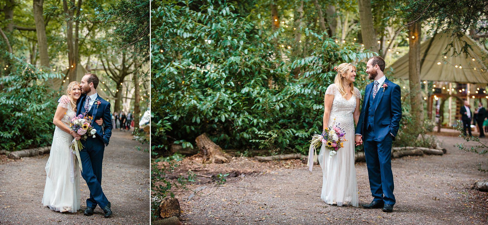 Woodland Weddings Tring groom and bride in woods