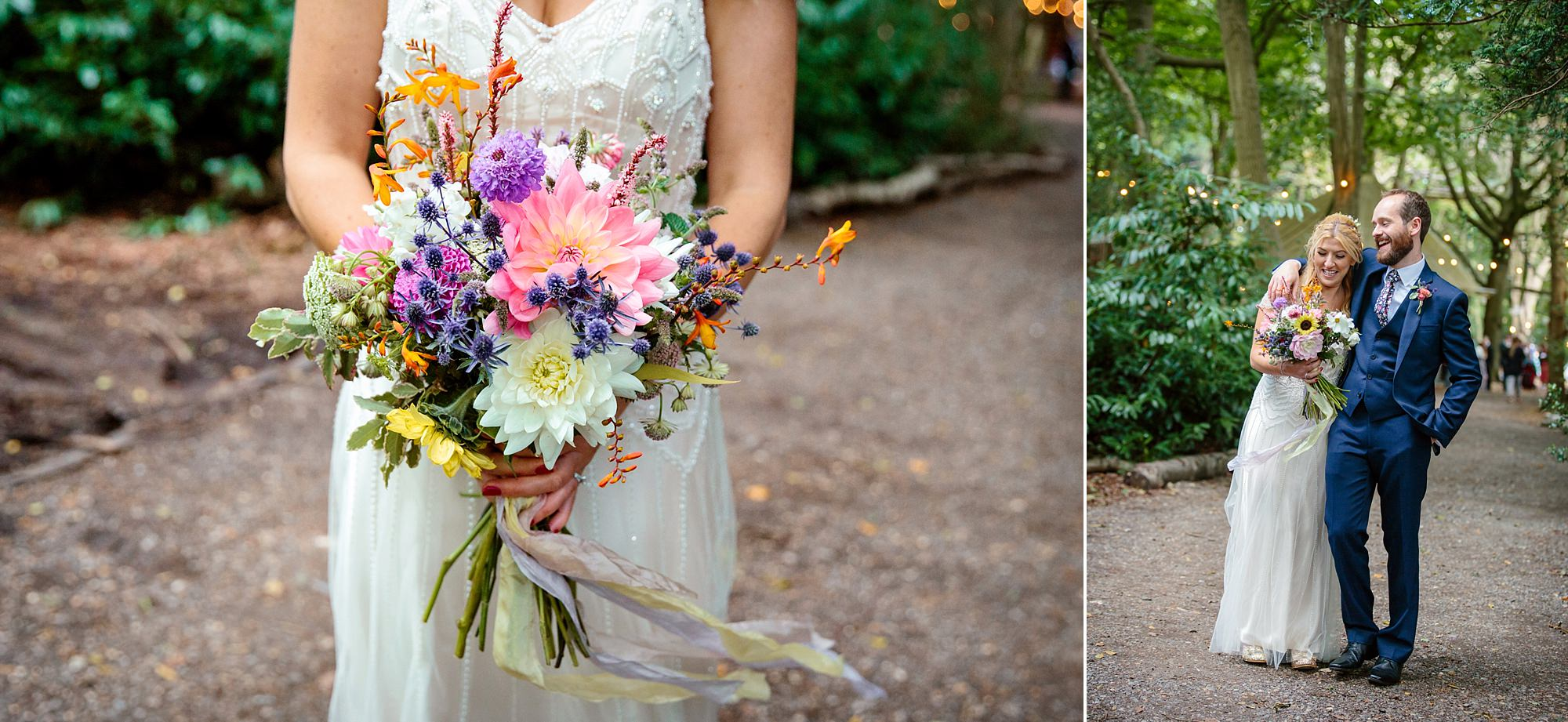 Woodland Weddings Tring bride with bouquet