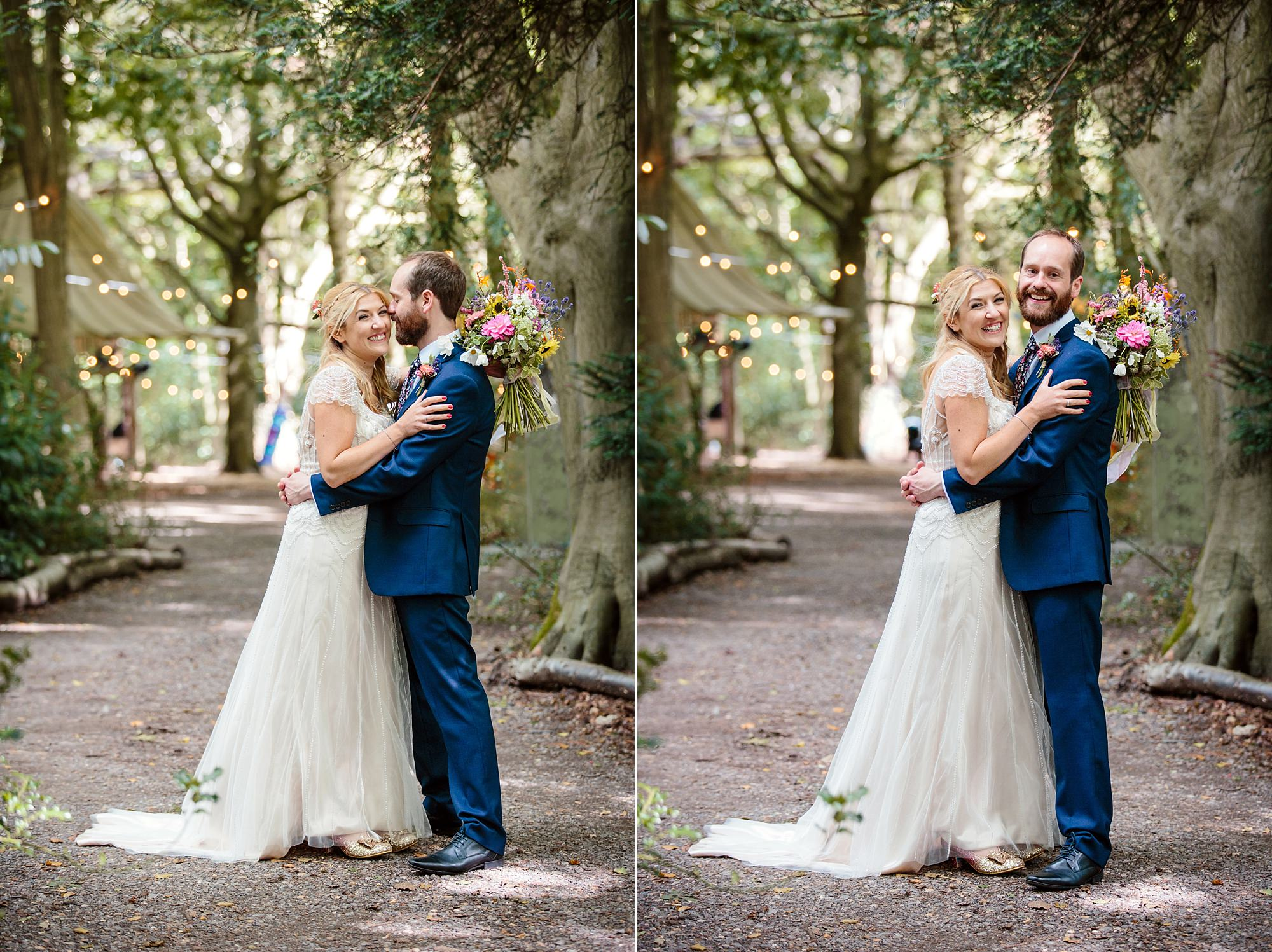 Woodland Weddings Tring bride and groom hugging