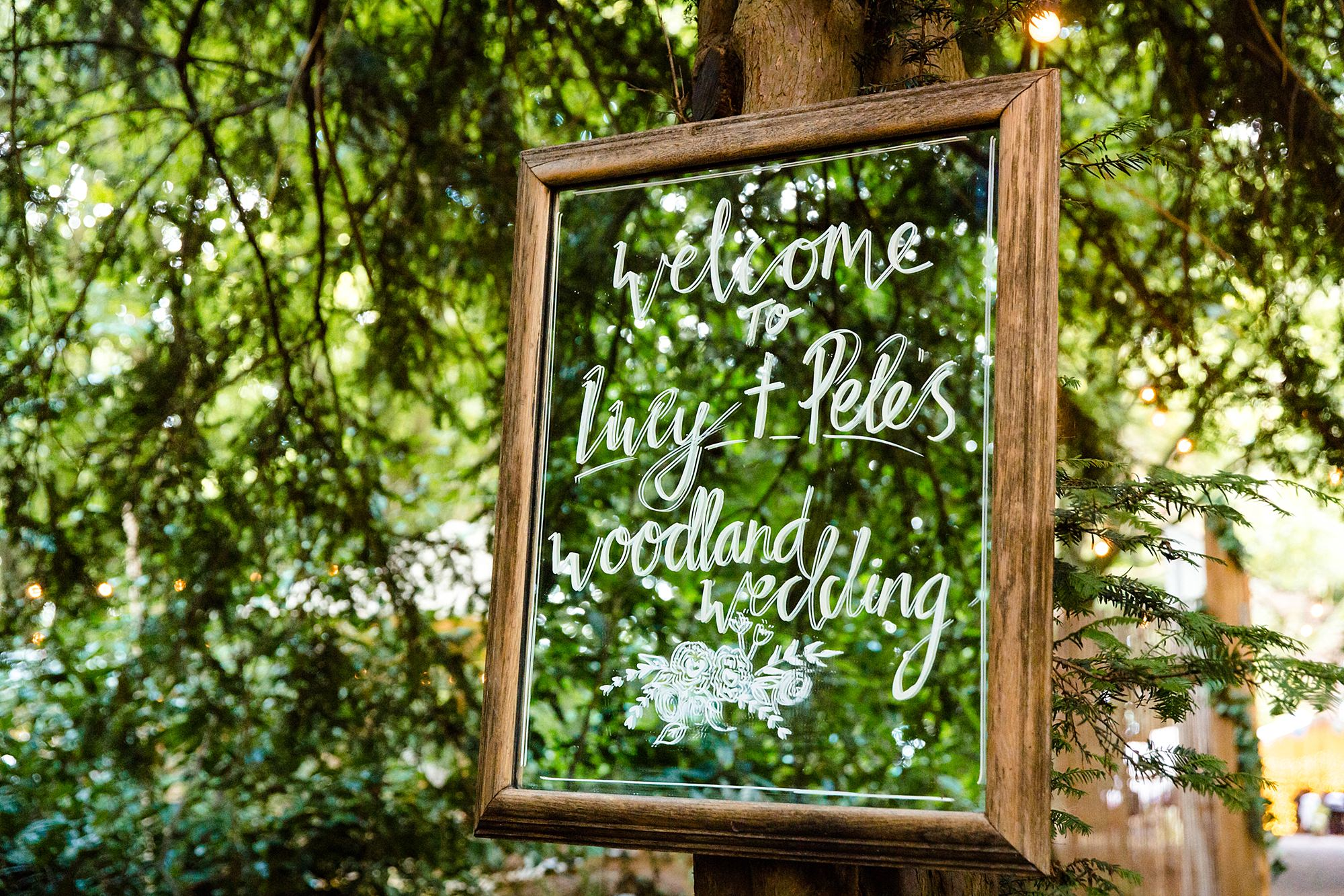 Woodland Weddings Tring wedding welcome sign