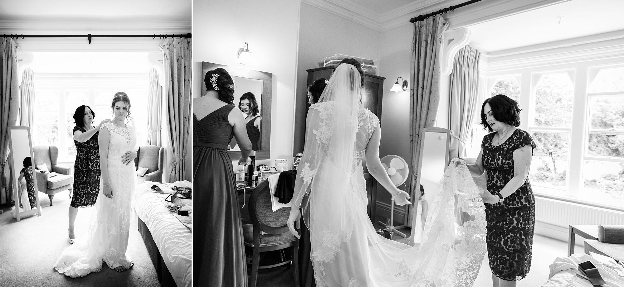 Canon Lane Chichester wedding bride getting into dress