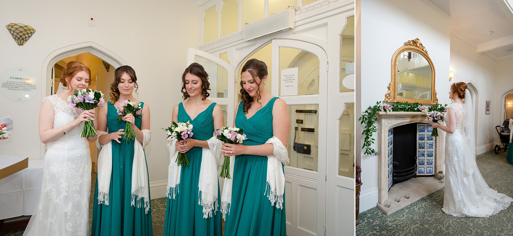 Canon Lane Chichester wedding bride and bridesmaids with bouquets