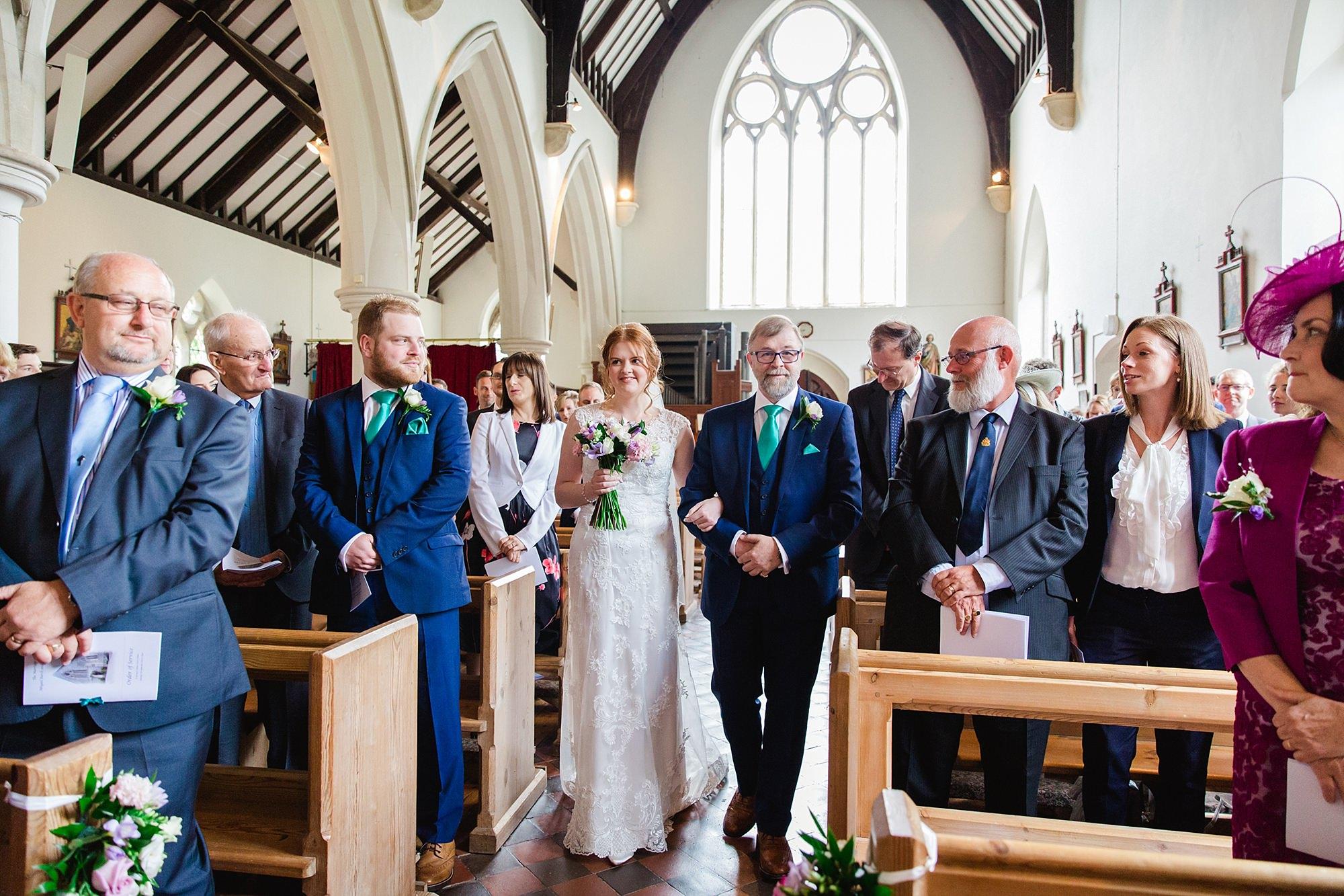 Canon Lane Chichester wedding bride walking down the aisle