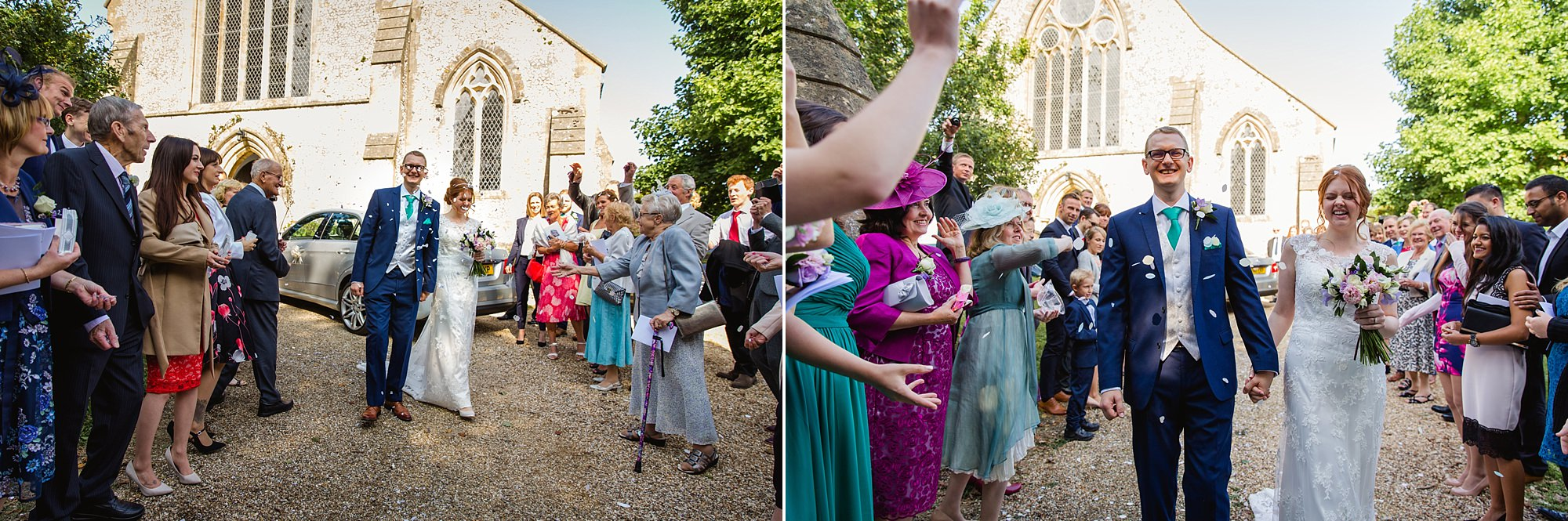 Canon Lane Chichester wedding bride and groom walk through confetti