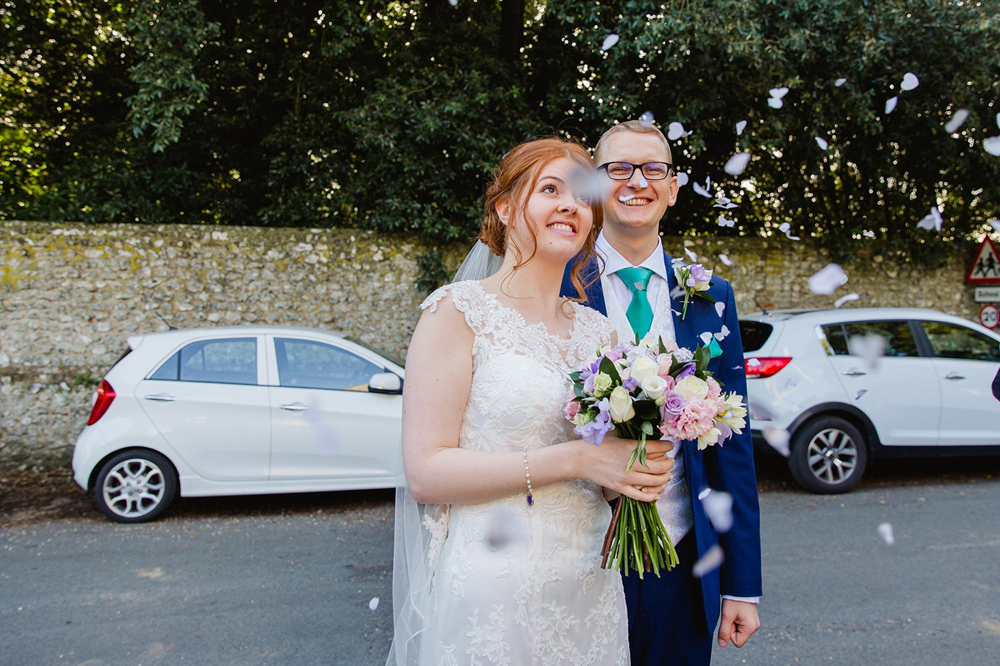 Canon Lane Chichester wedding bride and groom with confetti