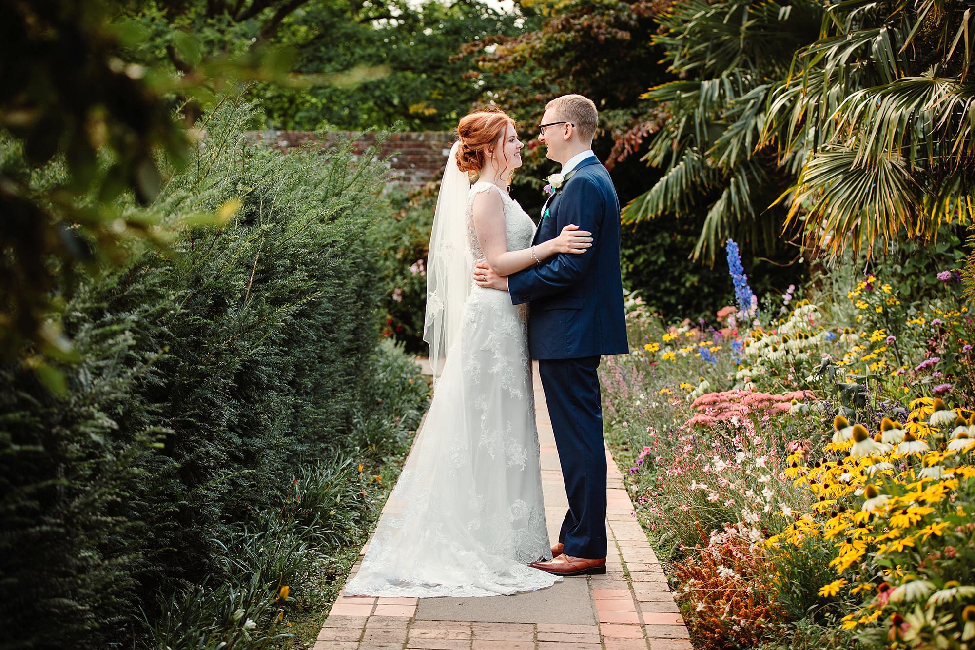 Canon Lane Chichester wedding bride and groom in bishops garden