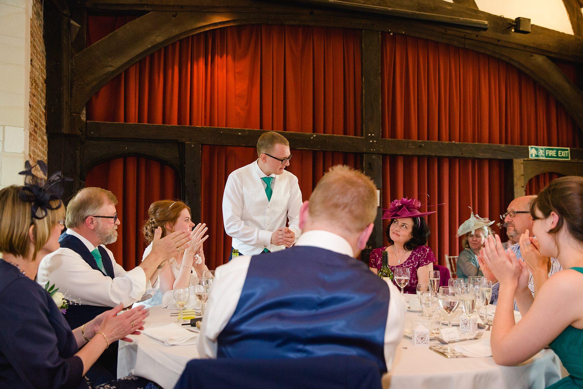 Canon Lane Chichester wedding groom praising mother of bride