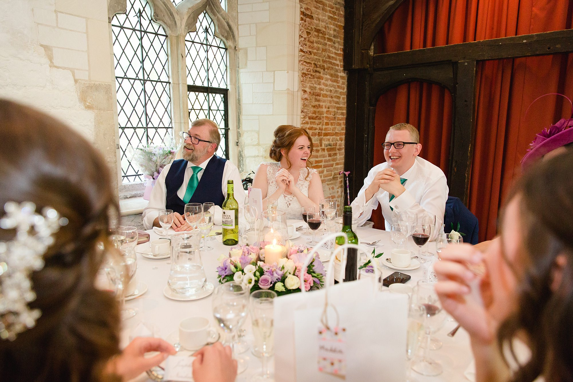 Canon Lane Chichester wedding bride and groom laugh during speeches