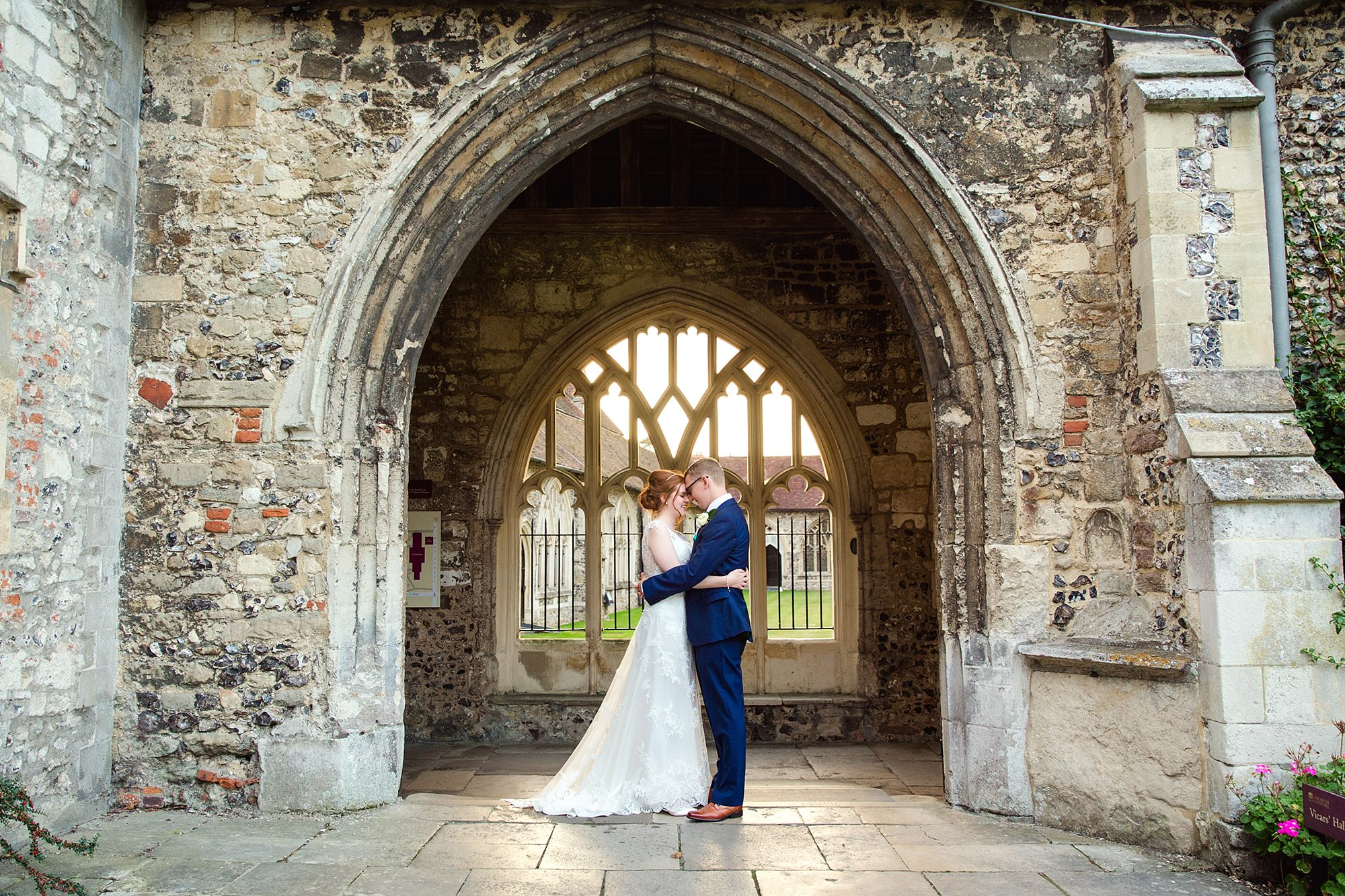 Canon Lane Chichester wedding bride and groom at chichester cathedral