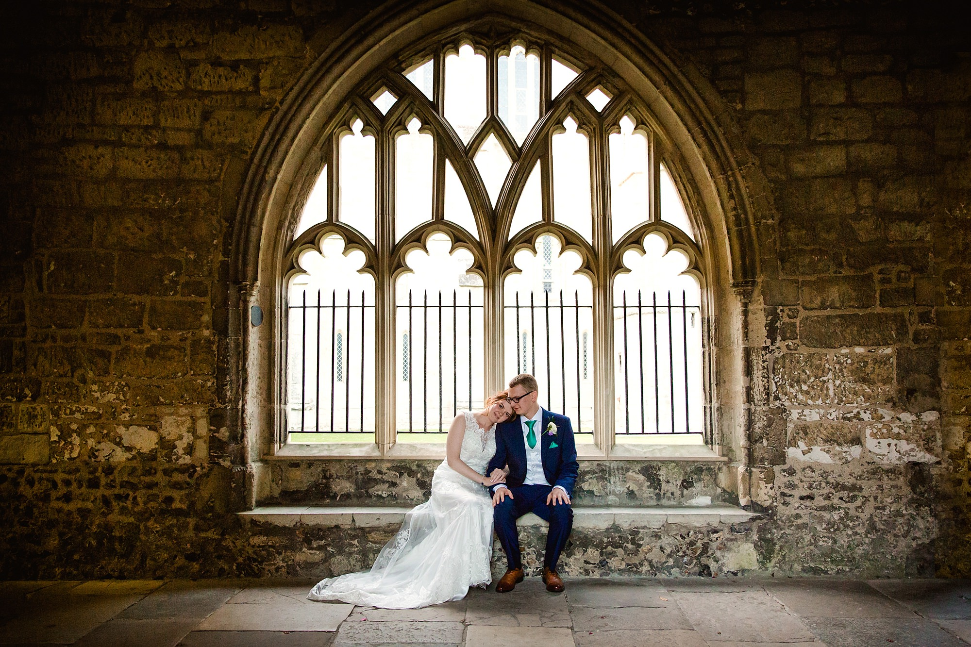 Canon Lane Chichester wedding bride and groom in cloisters