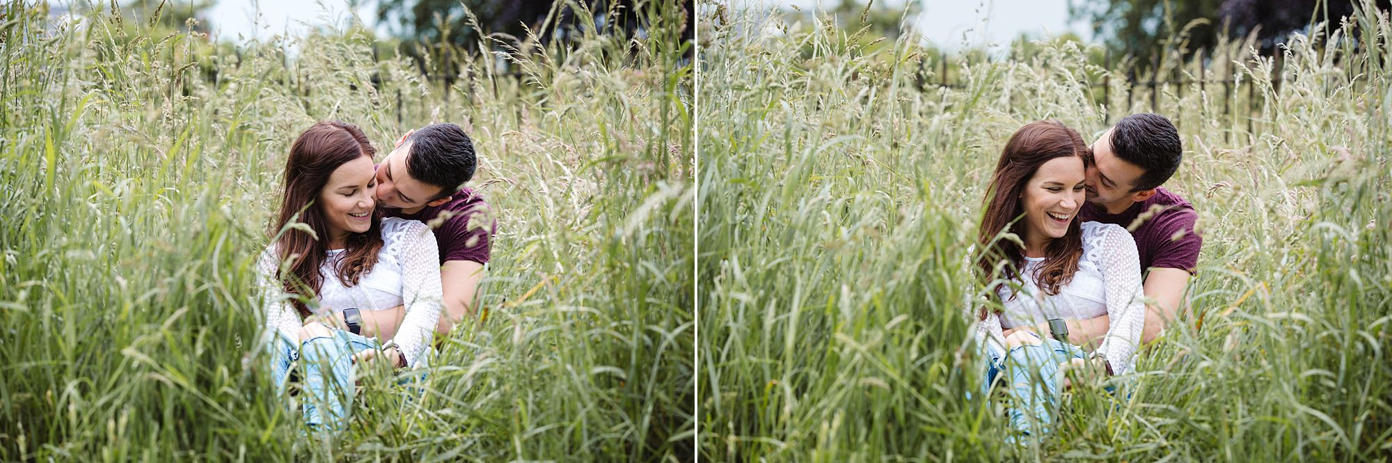 Countryside engagement photography couple in one grass