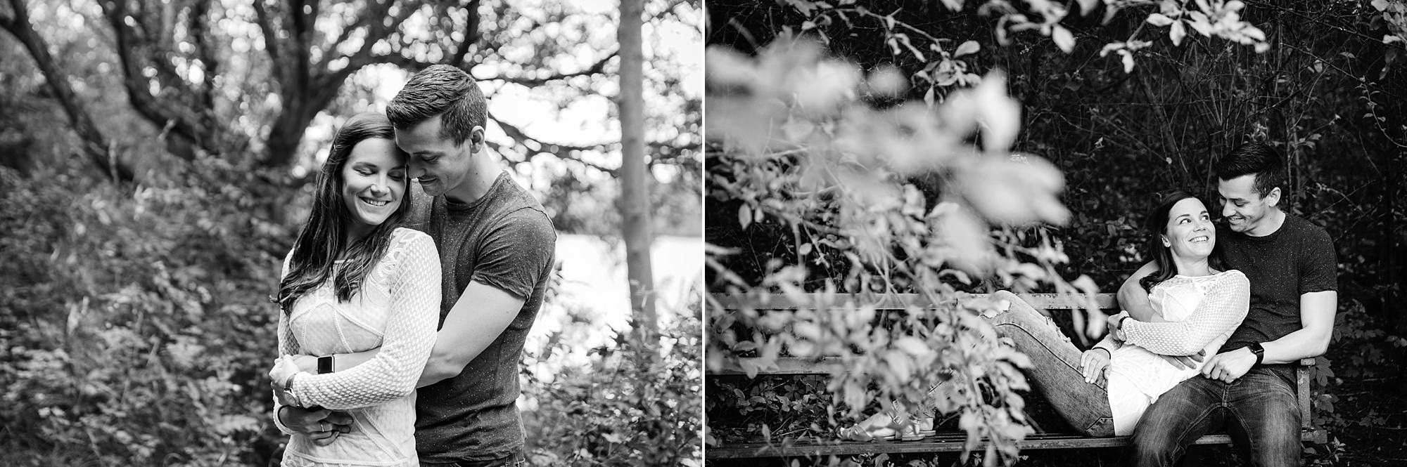 Countryside engagement photography portrait of couple close together
