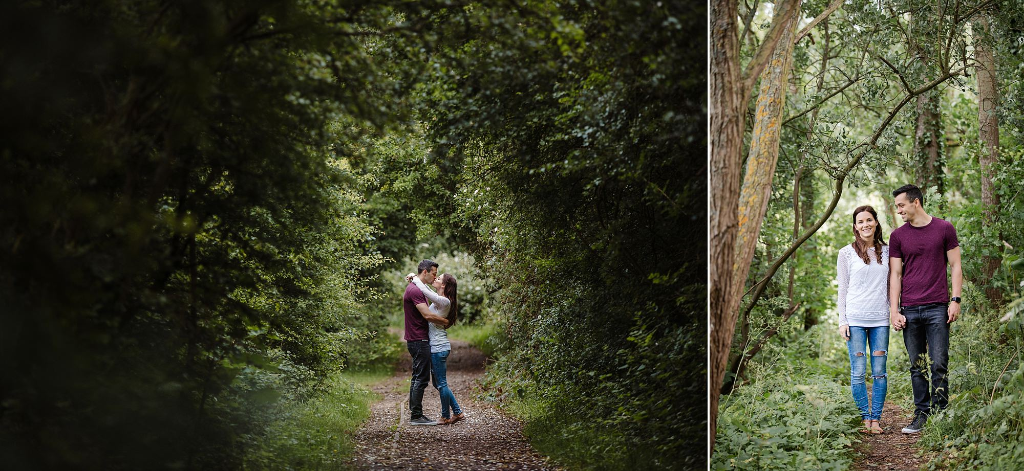 Countryside engagement photography couple kiss in a tree tunnel