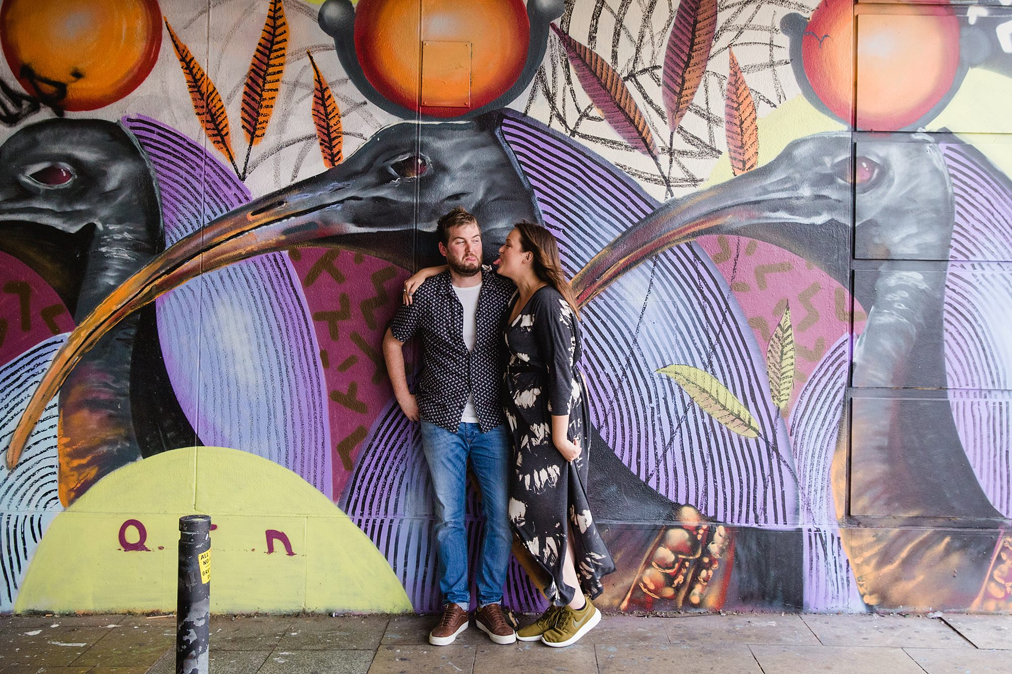 Croydon engagement photography with graffiti