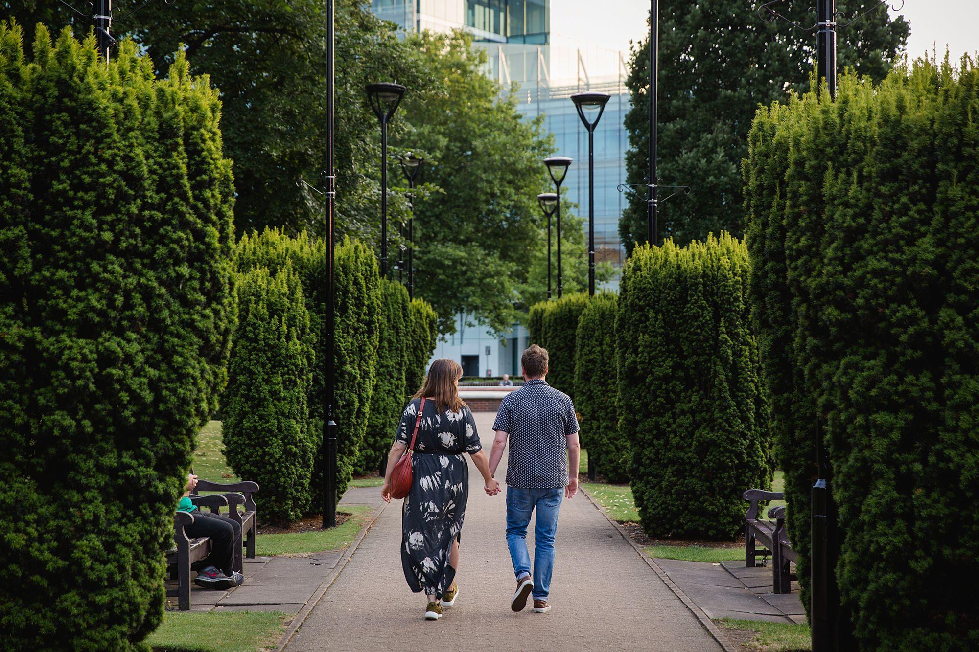 Croydon engagement photography portrait of couple walking together