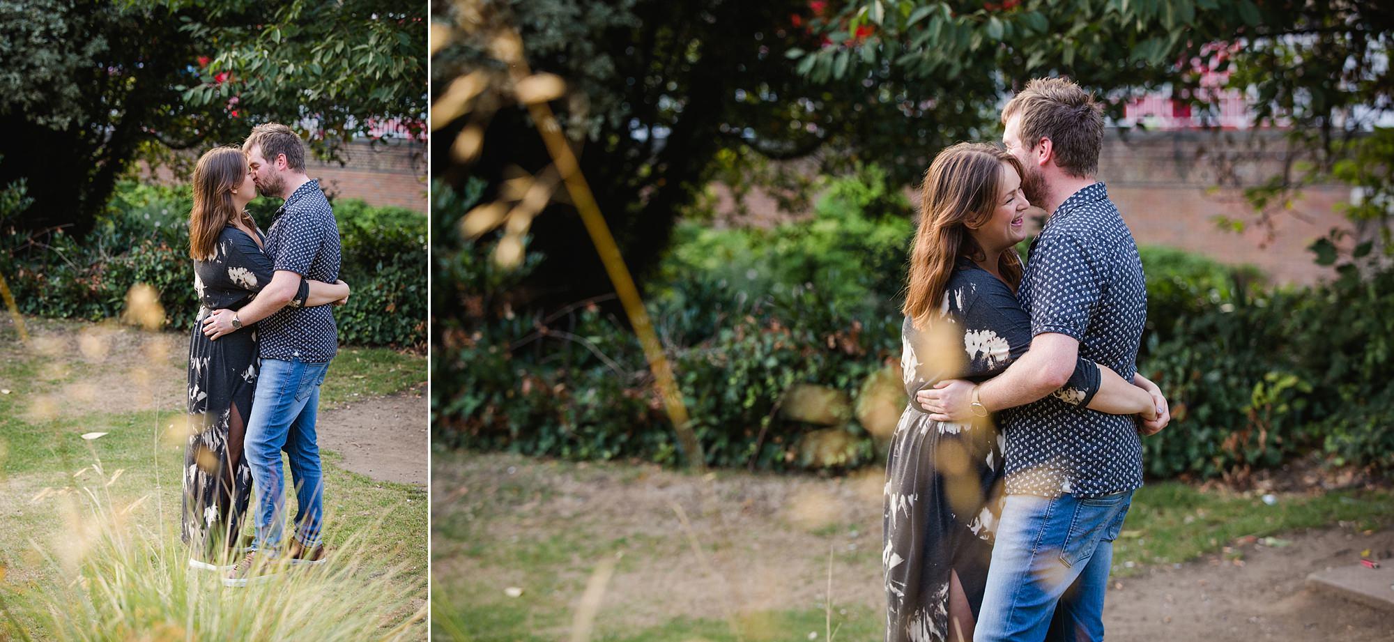Croydon engagement photography - portrait of couple hugging
