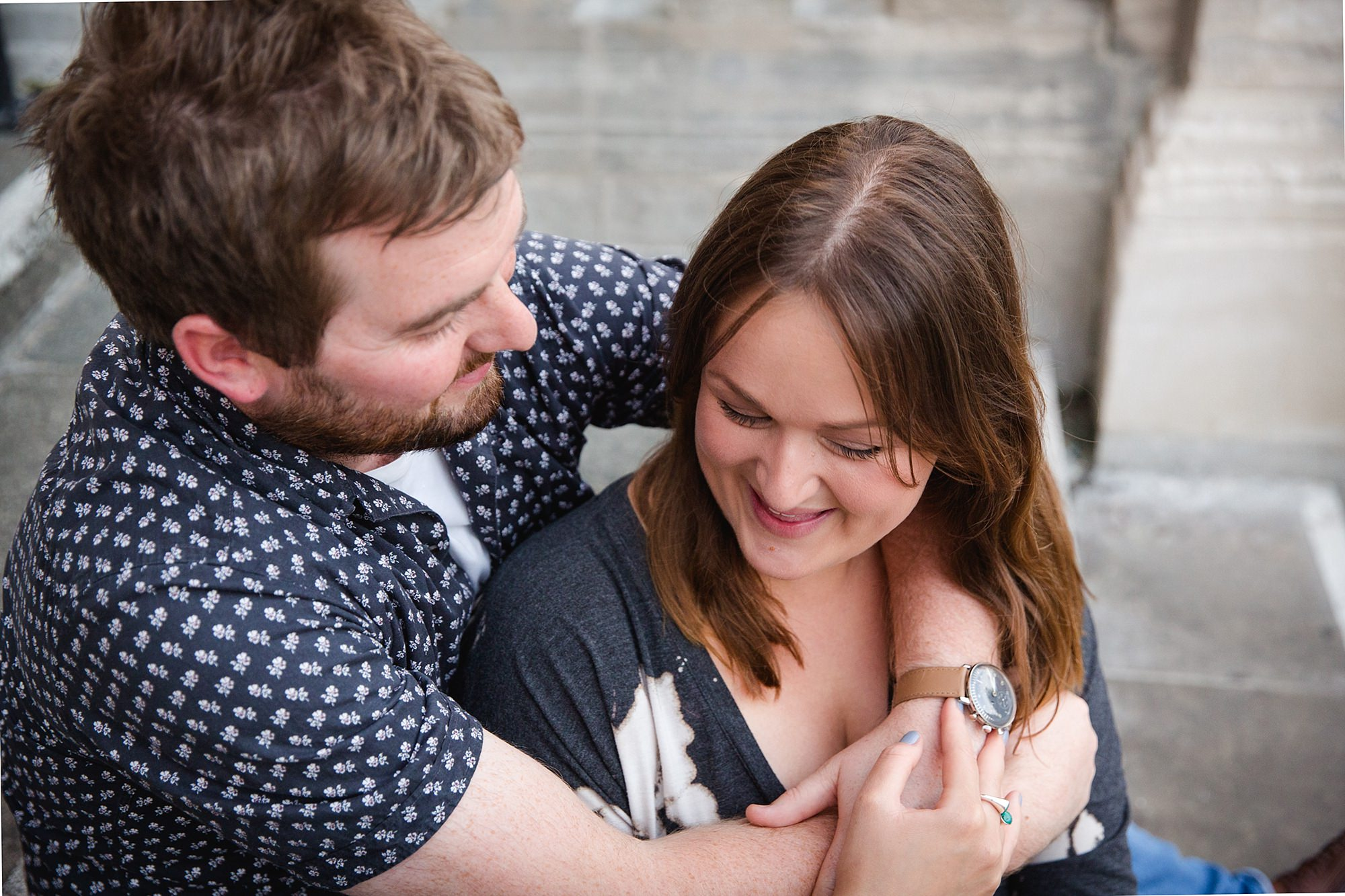 Croydon engagement photography portrait of couple laughing together