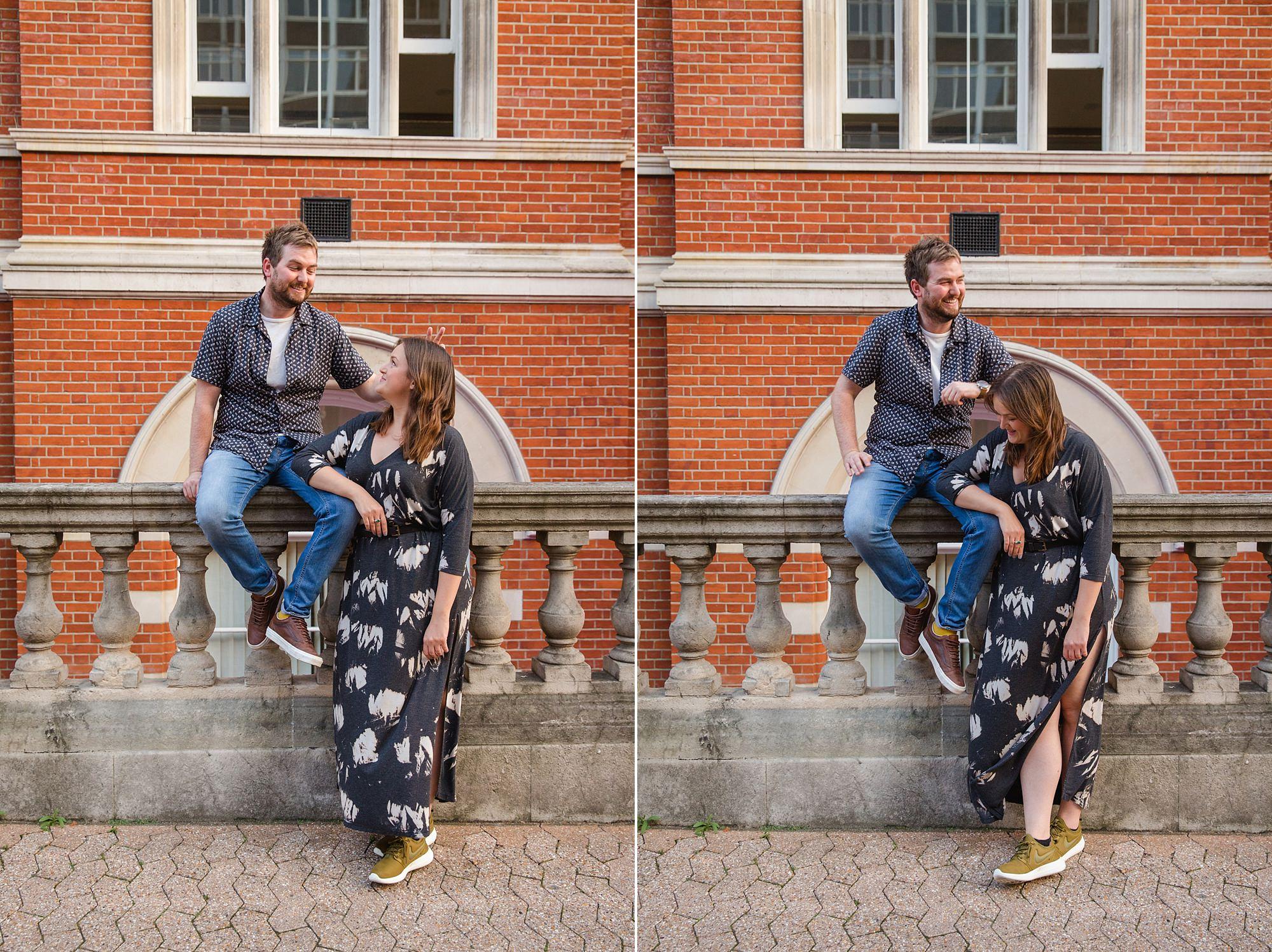 Croydon engagement photography portrait of groom giving bride bunny ears