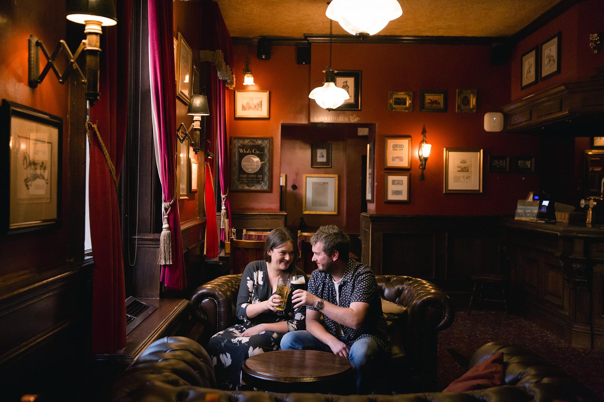 Croydon engagement photography portrait of couple in pub