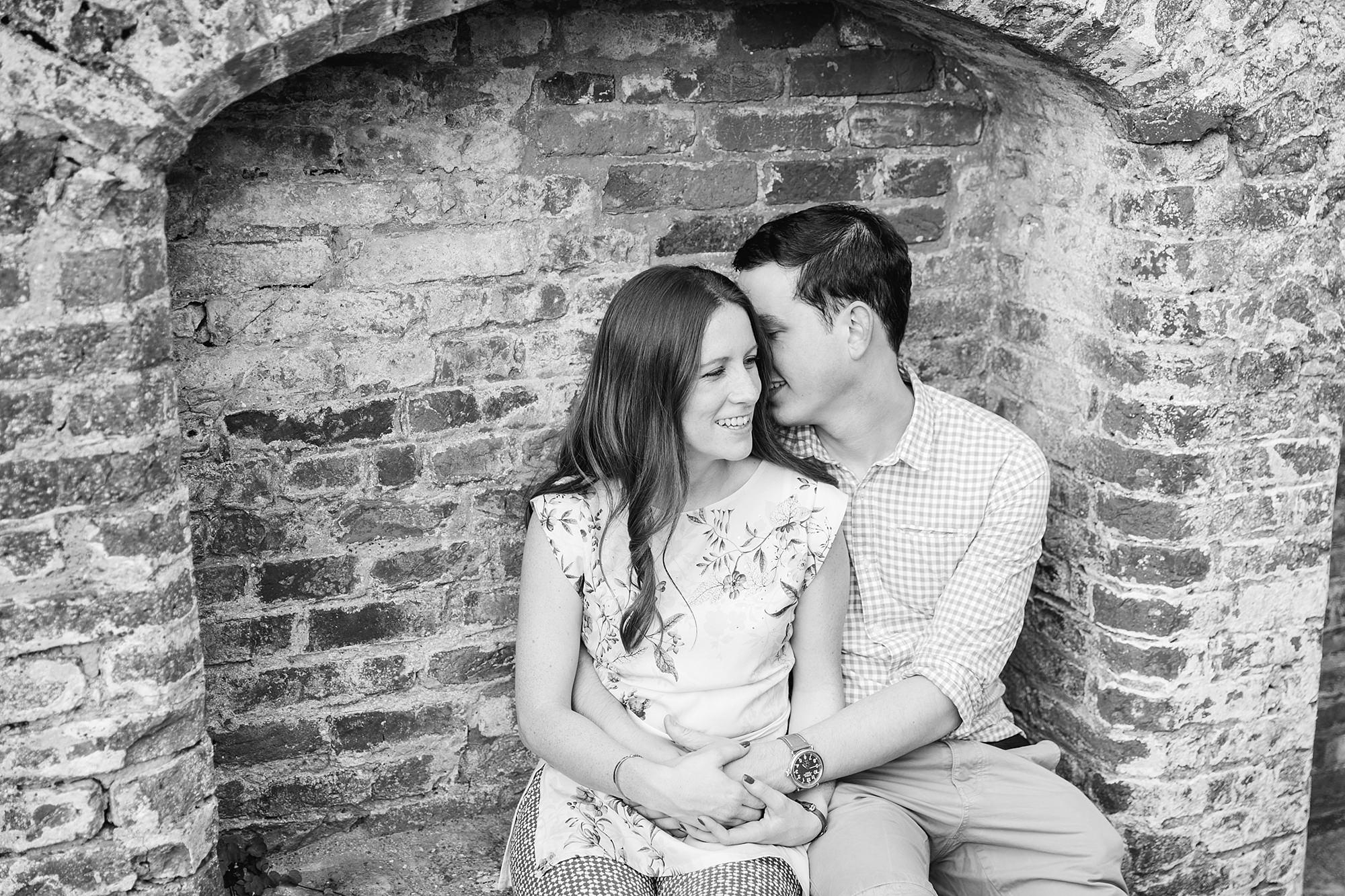 Farnham engagement photography portrait of a couple together at farnham castle