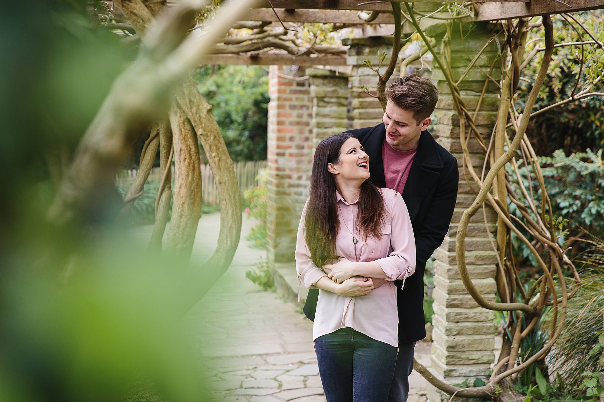 Streatham engagement shoot laughing couple