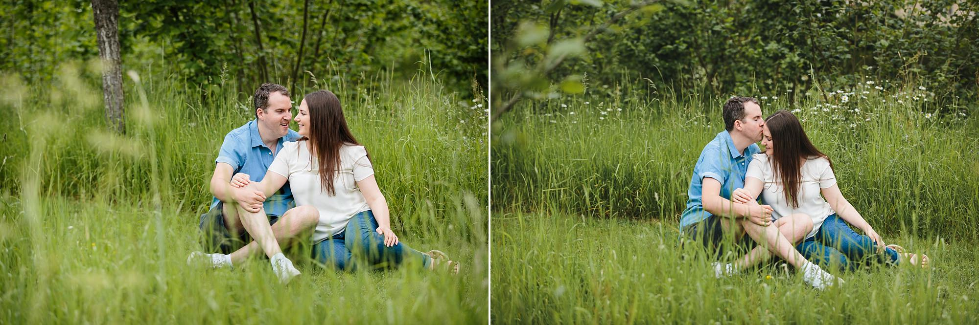Tonbridge engagement photography a couple sat together in long grass