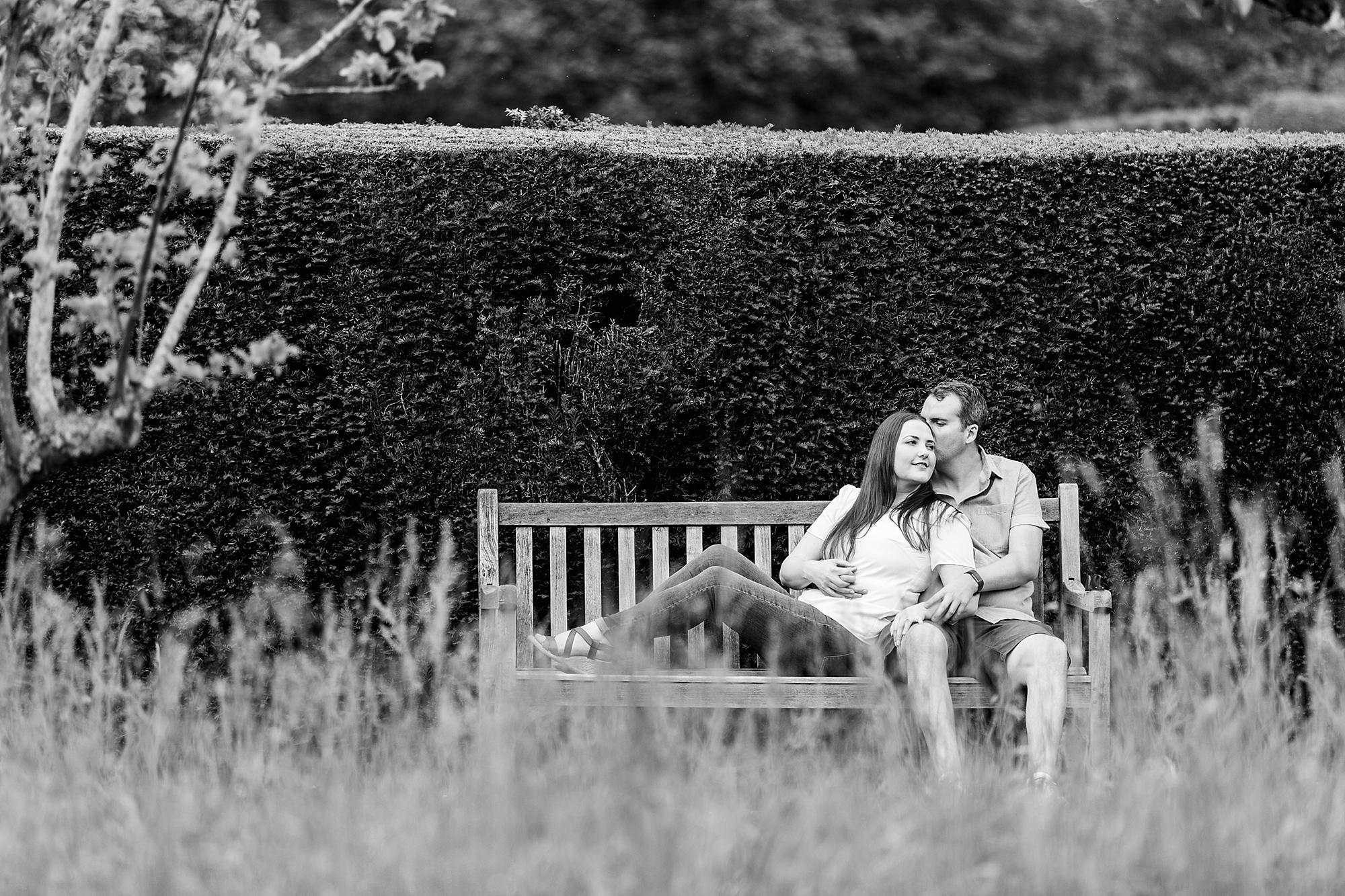 Tonbridge engagement photography - portrait of a couple on a bench