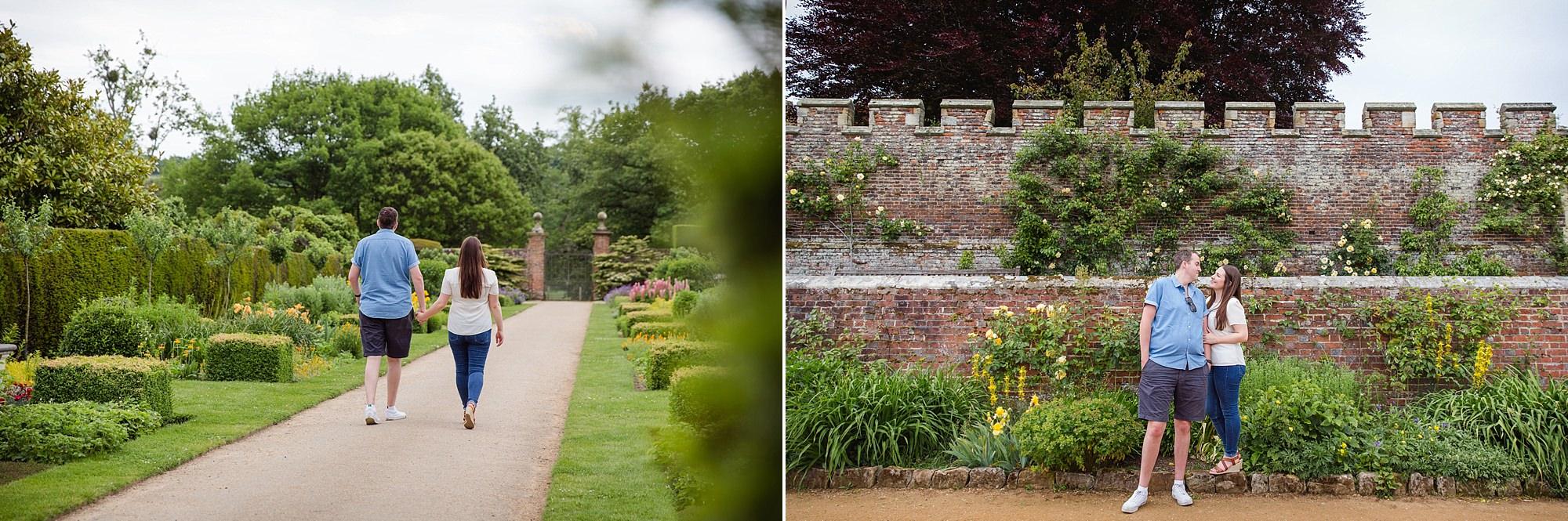 Tonbridge engagement photography couple walking through gardens