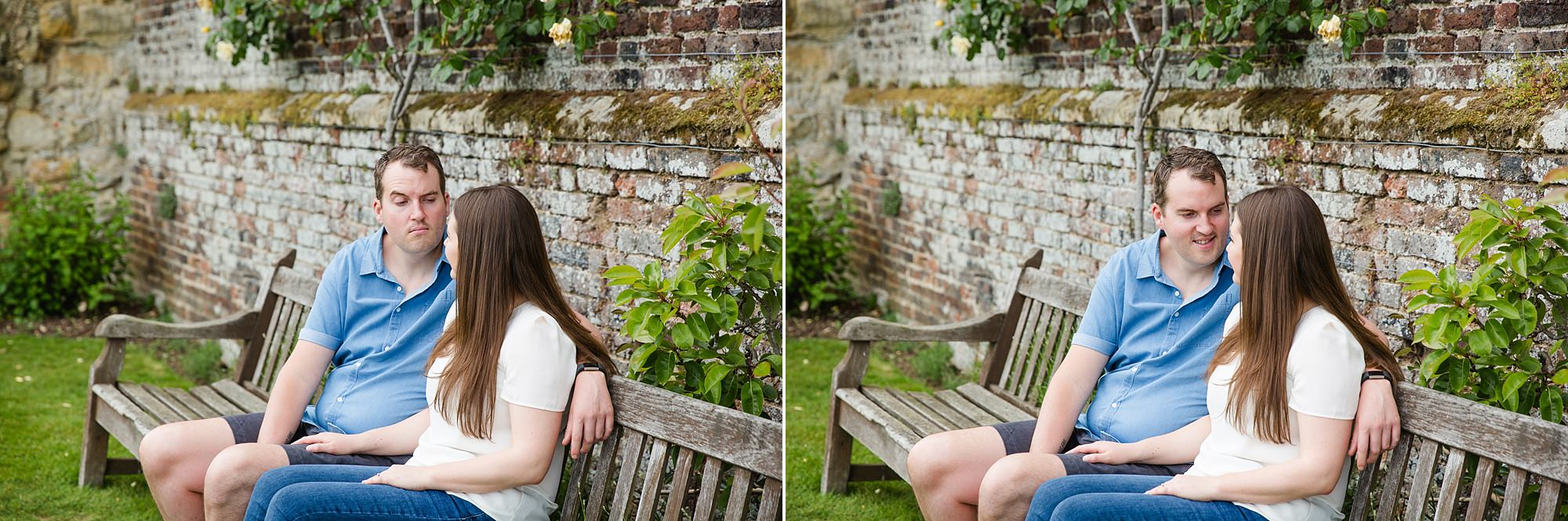Tonbridge engagement photography portrait of a couple sat together on a bench