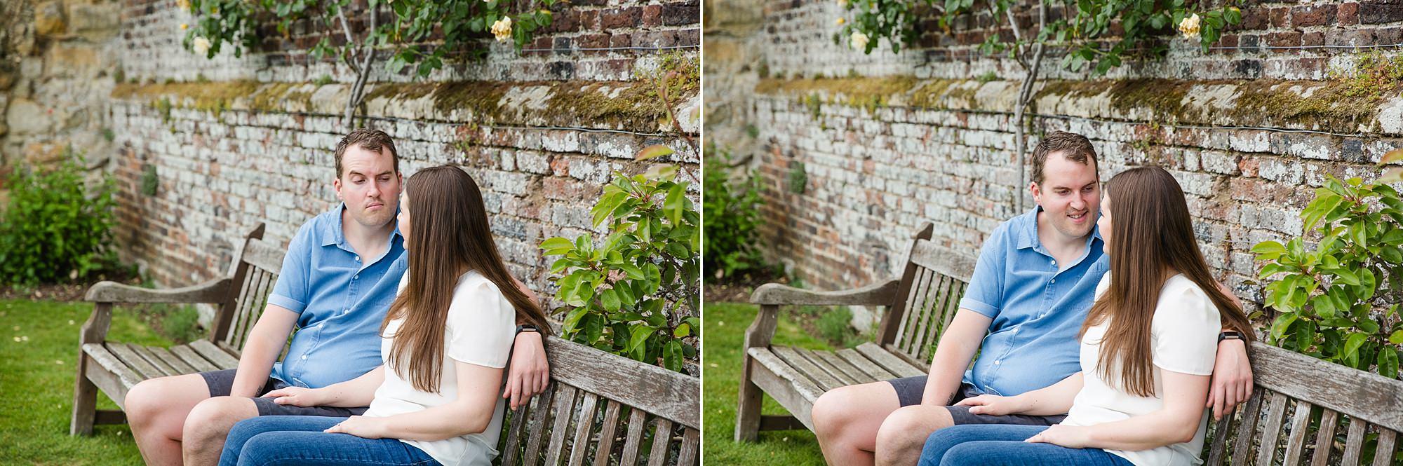 Tonbridge engagement photography portrait of a couple sat together on a bench