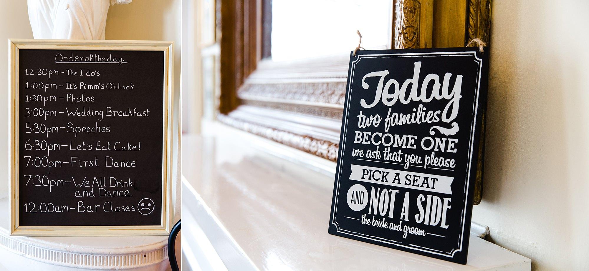 Trafalgar Tavern wedding signs for guests