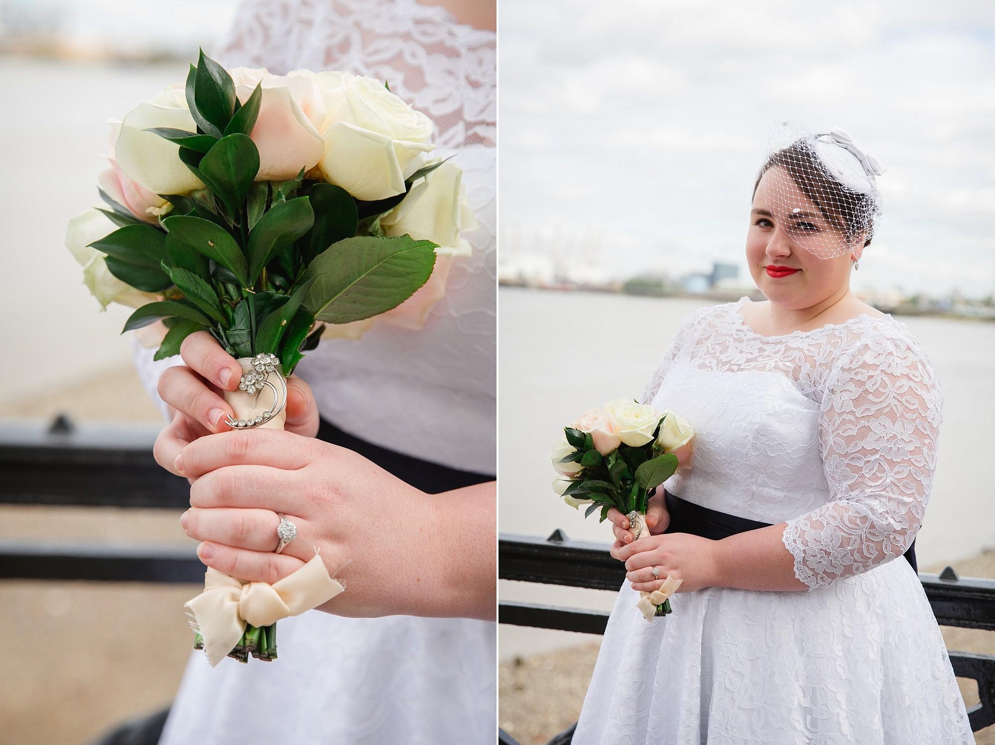 Trafalgar Tavern wedding portrait of bride and bouquet