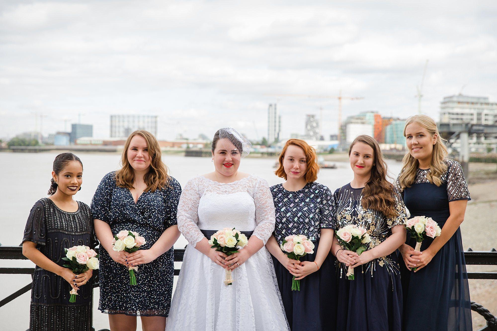 Trafalgar Tavern wedding portrait of bride and bridesmaids