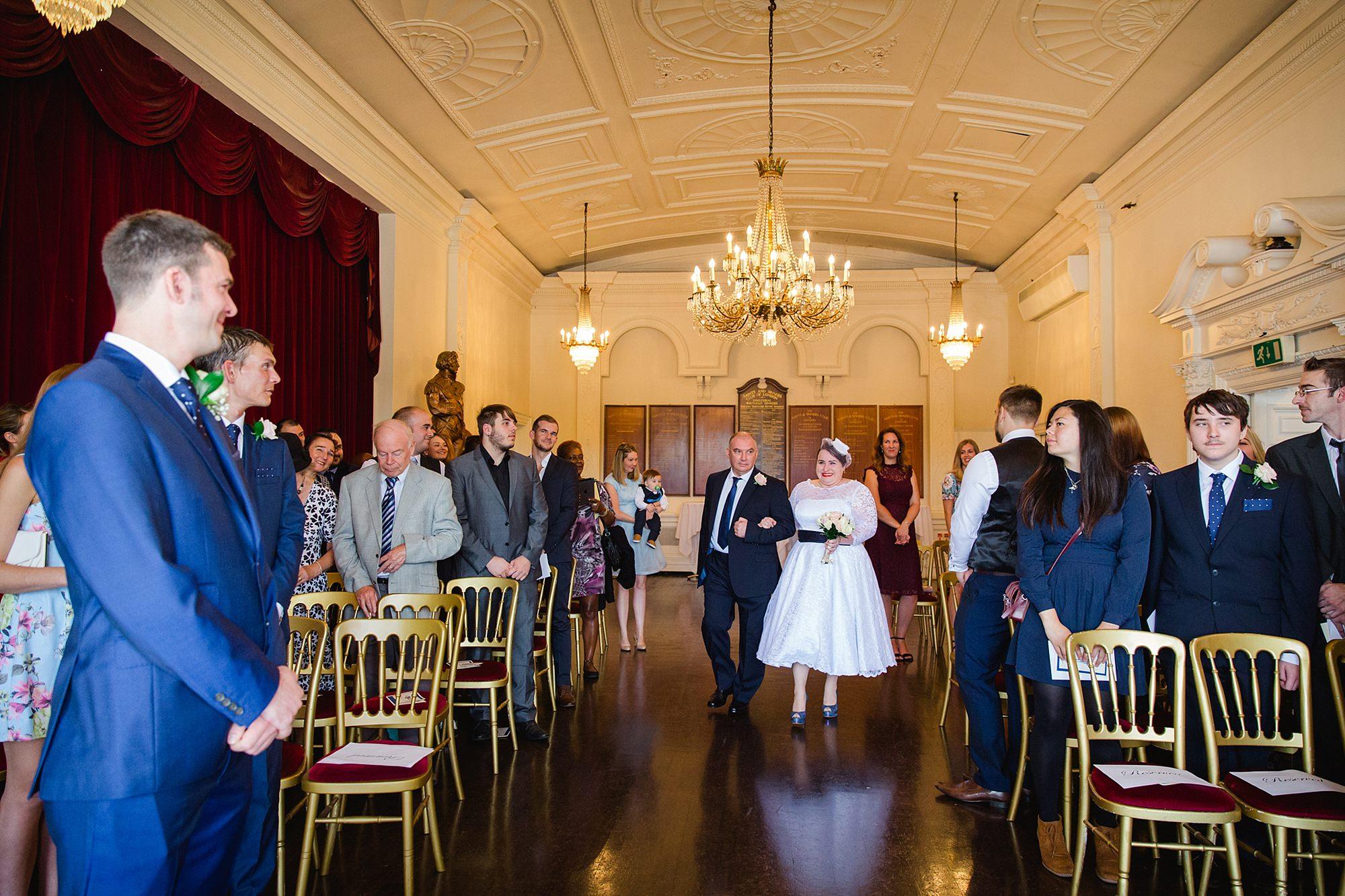 Trafalgar Tavern wedding bride walking down aisle