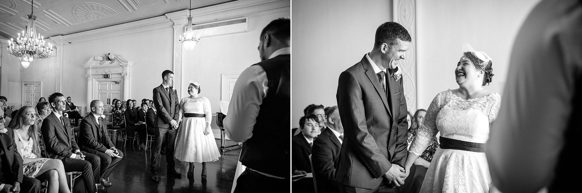 Trafalgar Tavern wedding bride and broom during ceremony reading