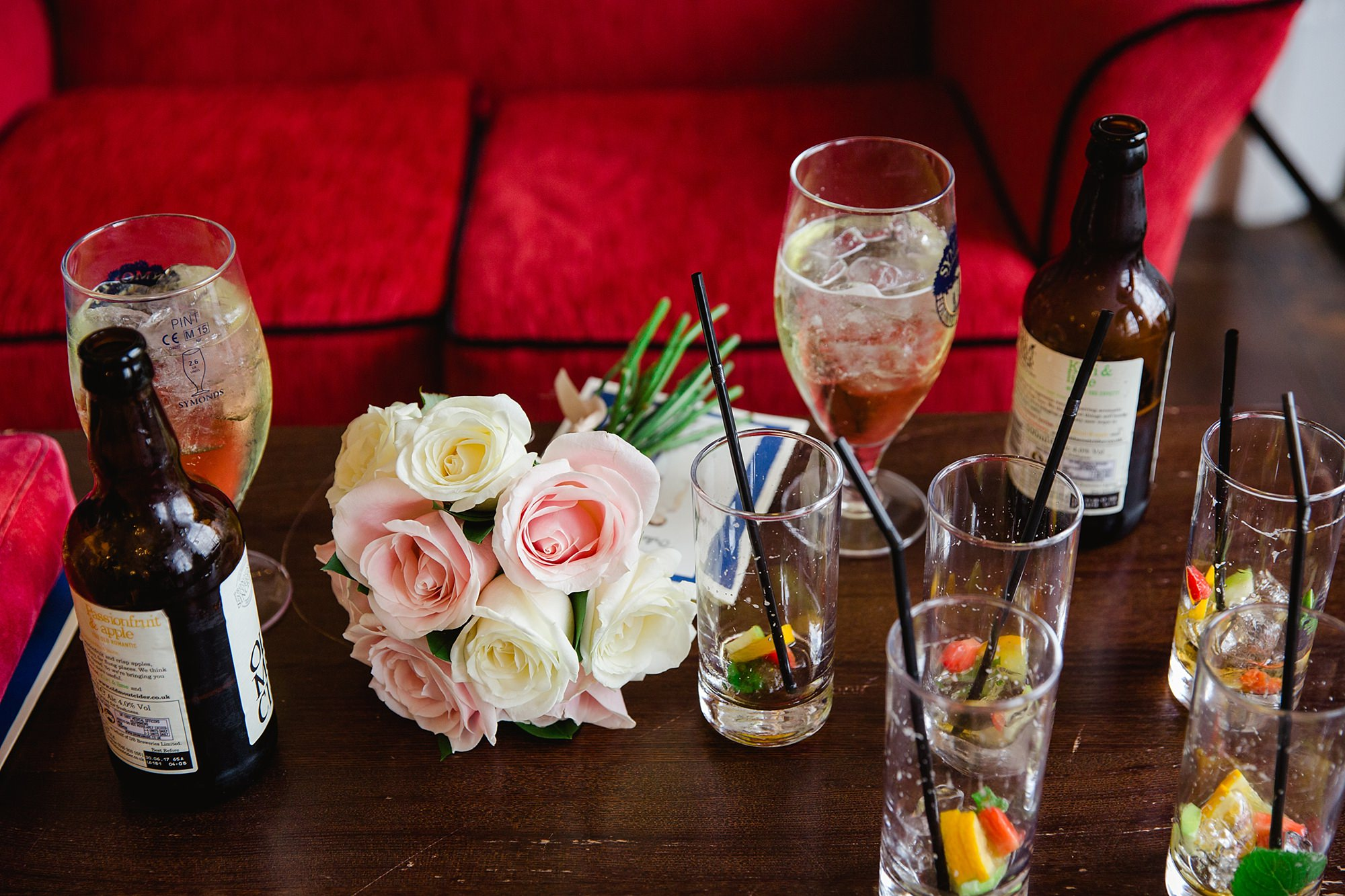 Trafalgar Tavern wedding bride's bouquet amongst Pimms