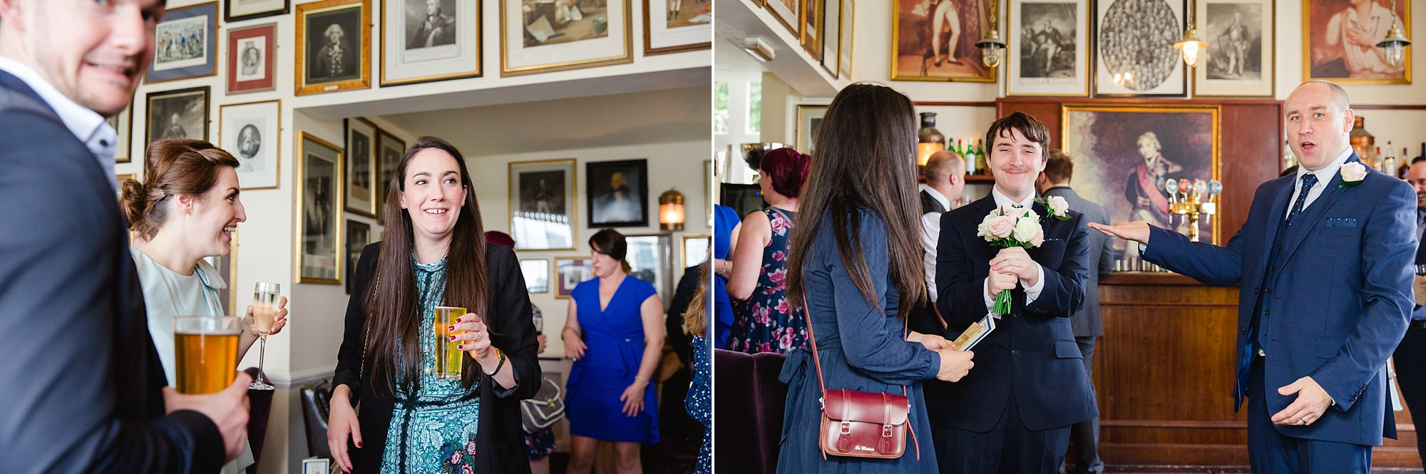 Trafalgar Tavern wedding guests enjoying reception