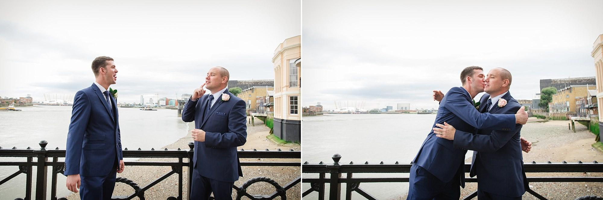 Trafalgar Tavern wedding fun groom and best man portrait