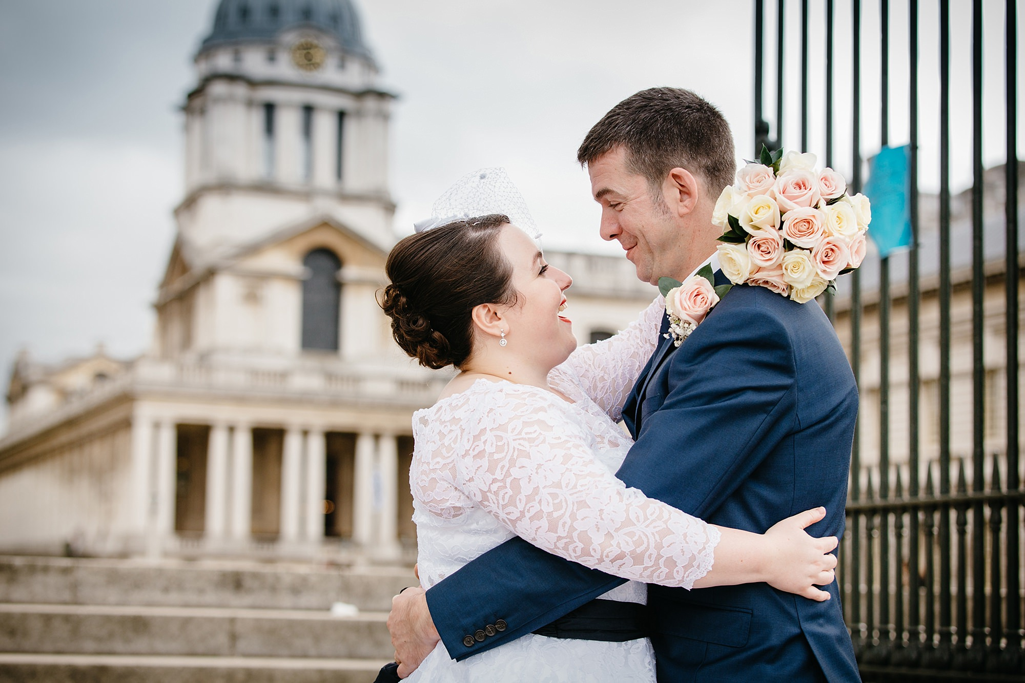 Trafalgar Tavern wedding bride laughing at groom