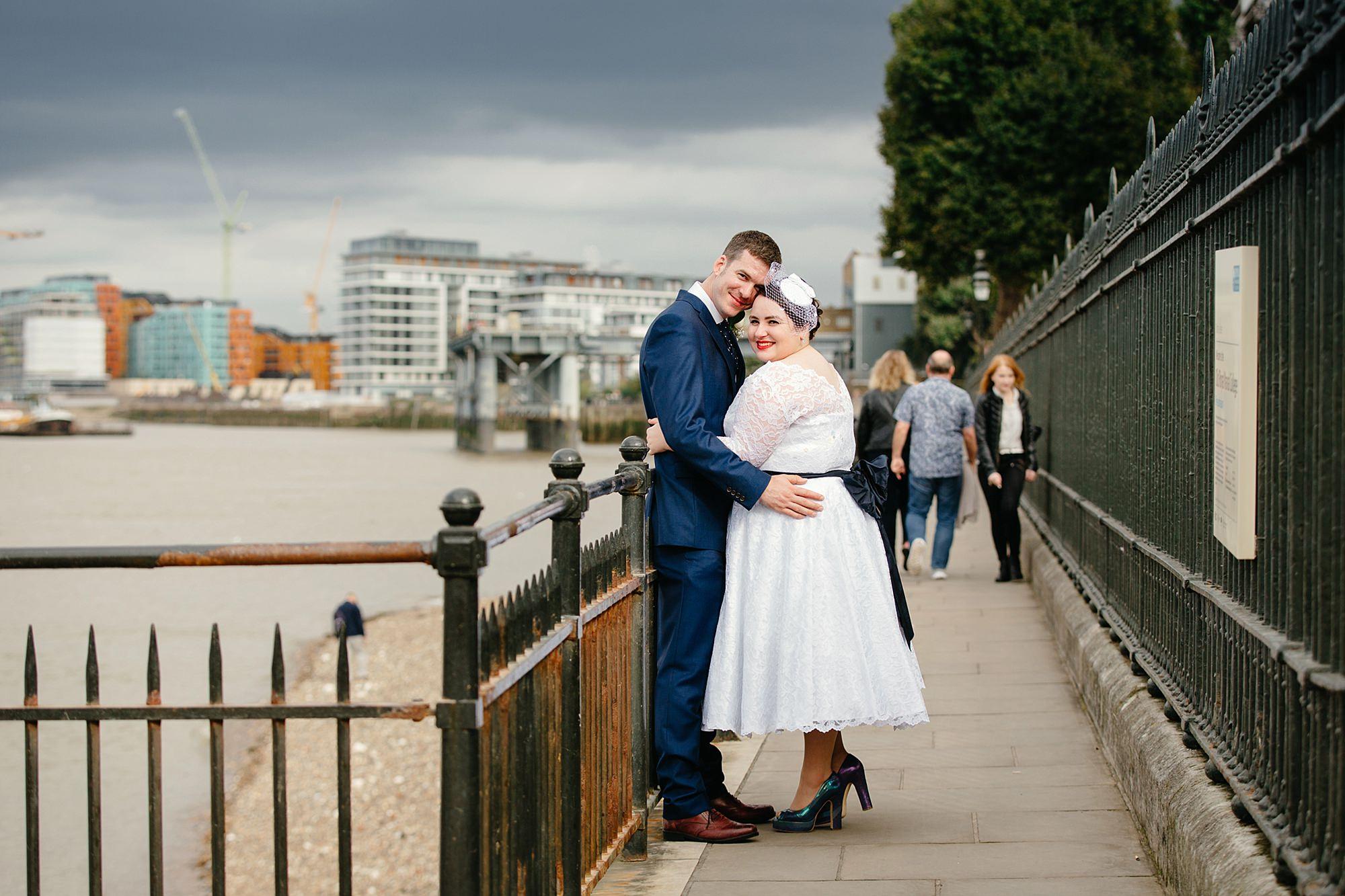 Trafalgar Tavern wedding bride and groom at river in Greenwich