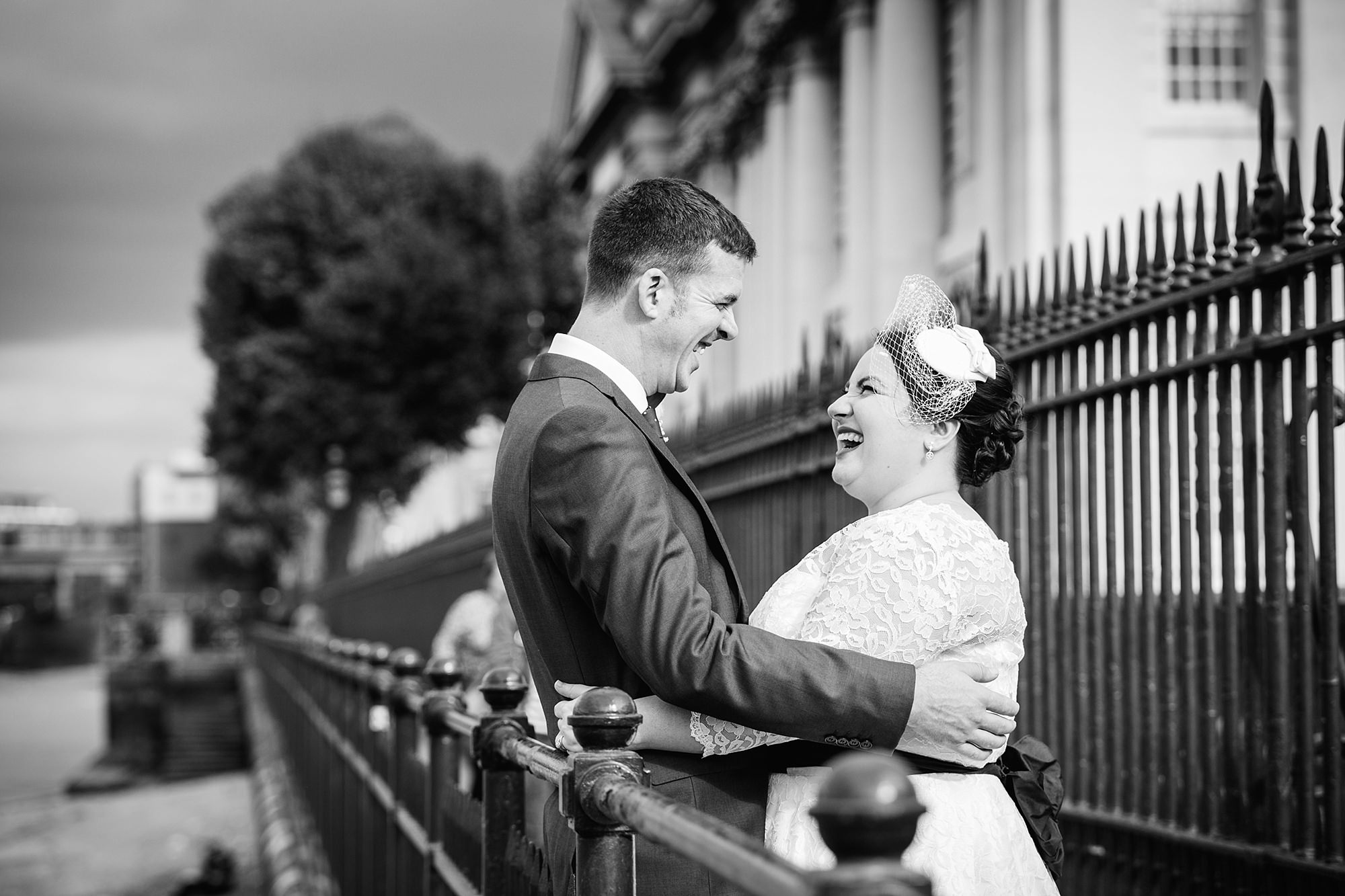 Trafalgar Tavern wedding laughing newlywed portrait