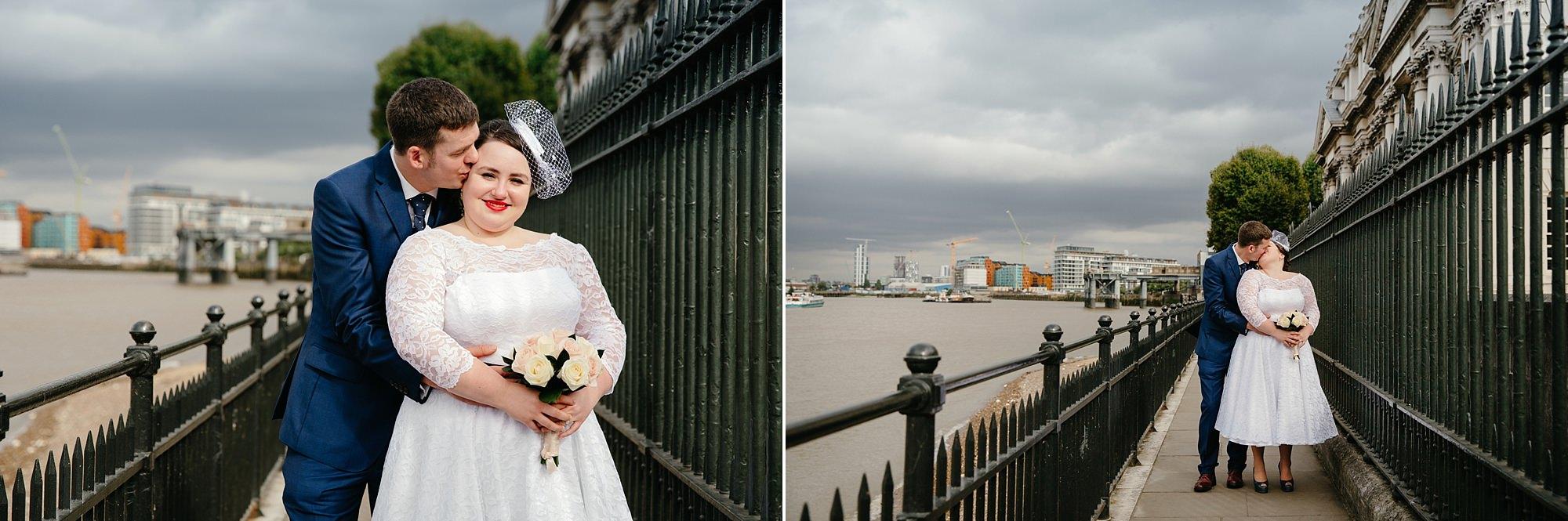 Trafalgar Tavern wedding bride and groom portrait by Thames river